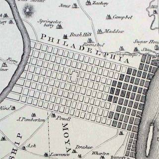 Philadelphia in 1776 (shaded area of map) had a population of 25,000. The house at 7th & Market Sts. — where Jefferson penned the Declaration — was the last in the city. Westward to the Schuylkill river were farms and woods which had been surveyed for future streets.