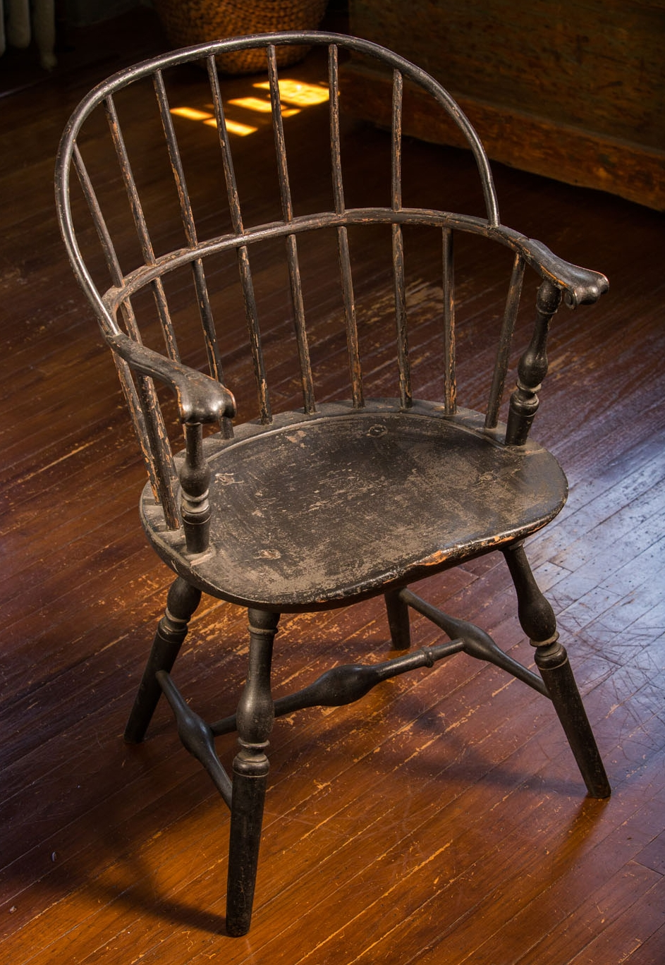 """One of Quaker craftsman Joseph Henzey's original """"sack back"""" Windsors, used by the delegates of the First Continental Congress in 1774."""