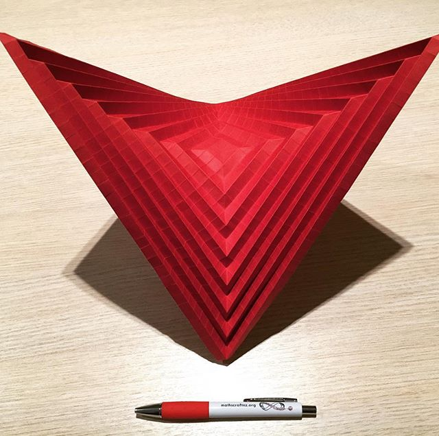 A hyperbolic paraboloid (with pen included for scale). See this and more mathematical origami at the Maths Craft Festival @aucklandmuseum this weekend. See mathscraftnz.org for more details - including our free bus service from South Auckland. Hope to see you there! :)
