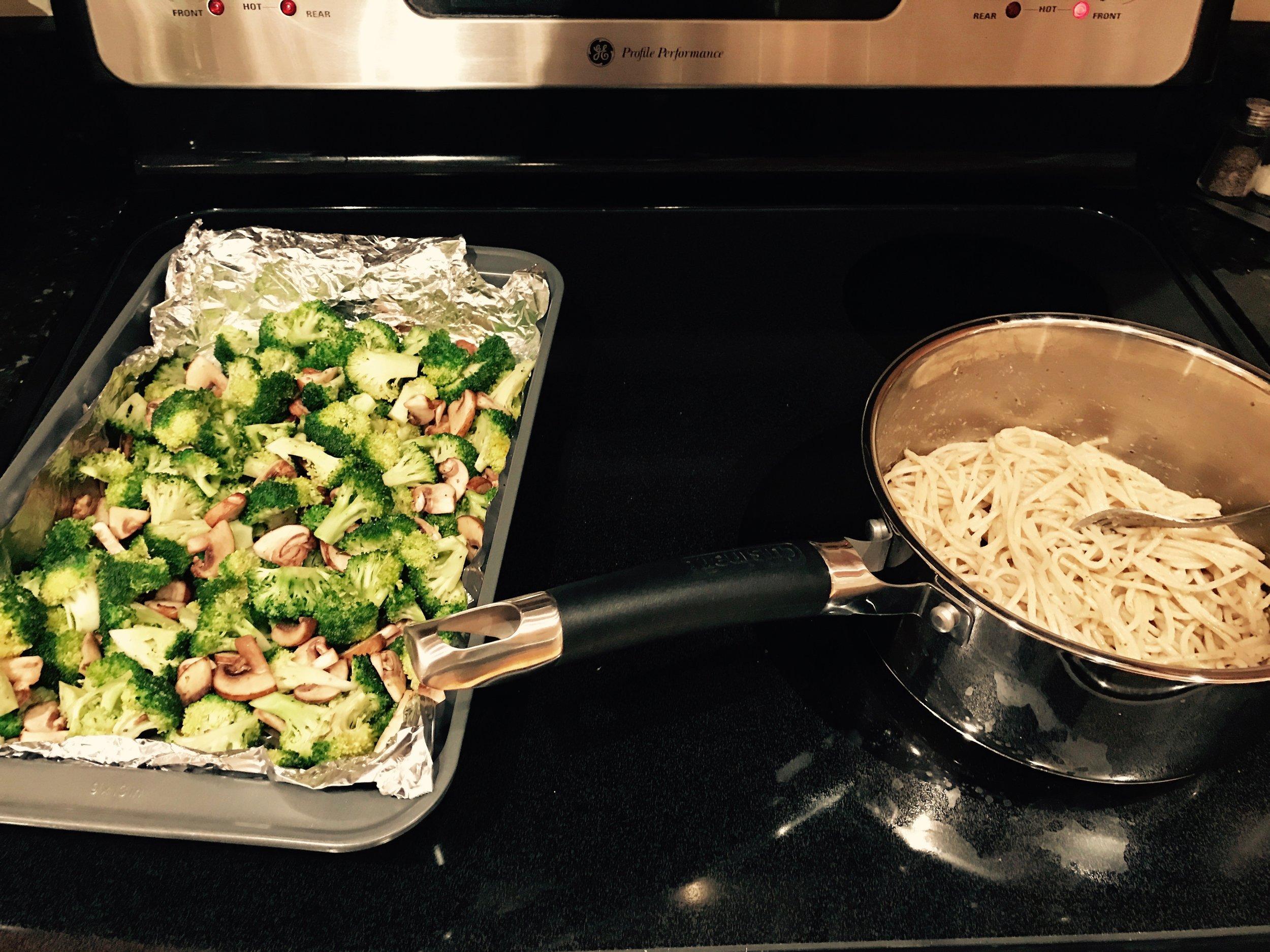gluten free pesto pasta and vegetables