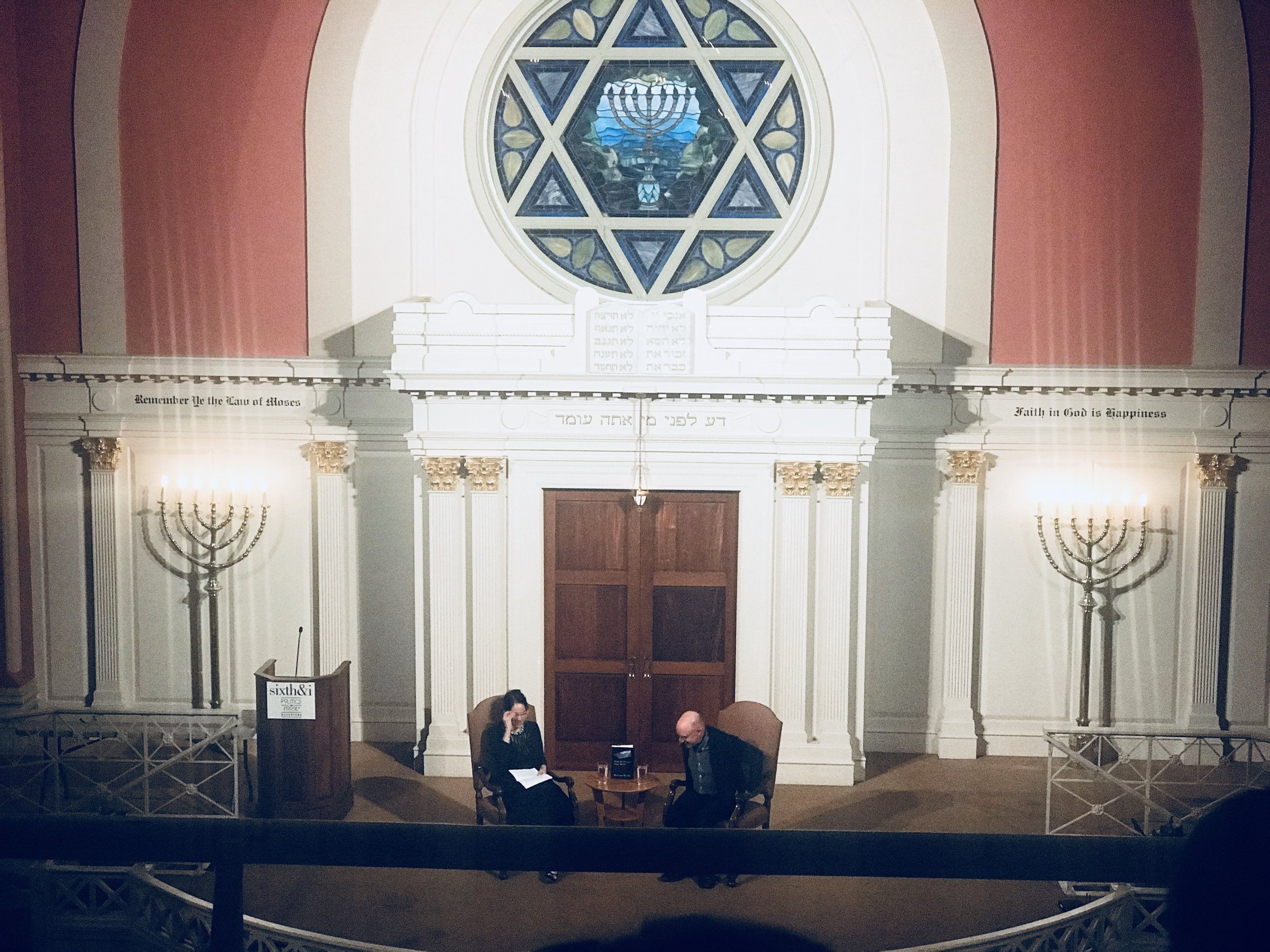 Michael Pollan and Alix Spiegel at the Sixth & I synagogue. I was seated in the balcony.