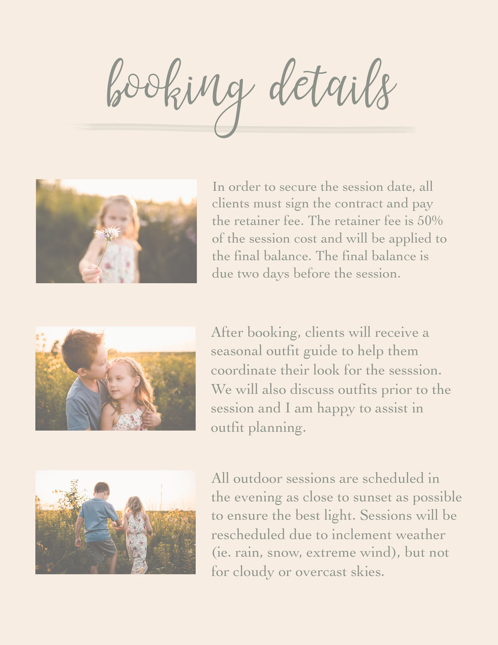 Child And Family Portrait Guide Template For Photographers Earthy Style Ally B Photography Naperville Newborn Photographer Naperville Family Photographer Naperville Child Photographer