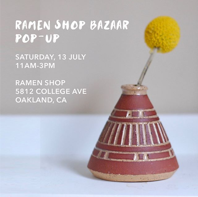 Tomorrow! Come visit me at the best ramen restaurant around @ramenshopoakland from 11am - 3pm!