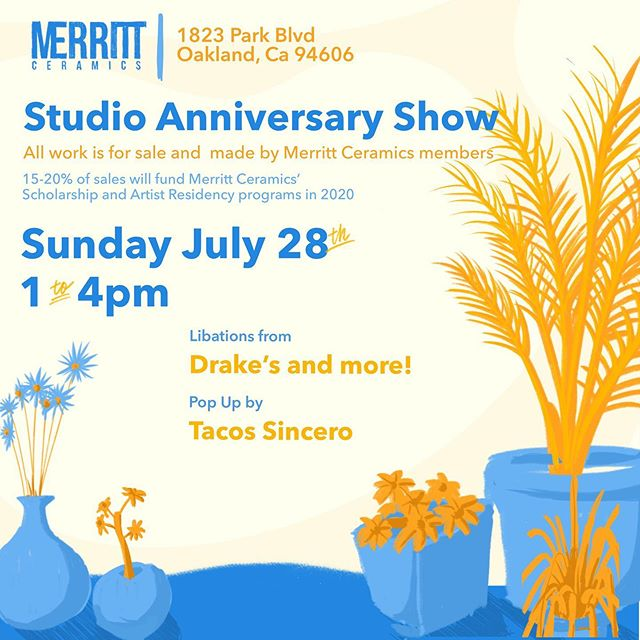 @merrittceramics is my home away from home (but not that far away from home, just across the street). I love this place and the people who make it so special. Come celebrate all @anna_yuhkyung and @rubyste (Merritt's amazing owners) have accomplished this past year. Plus, I and other members will be selling work during the event. It's gonna be a blast!