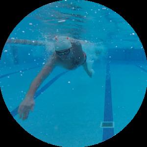 Man swimming on tri camp in mallorca