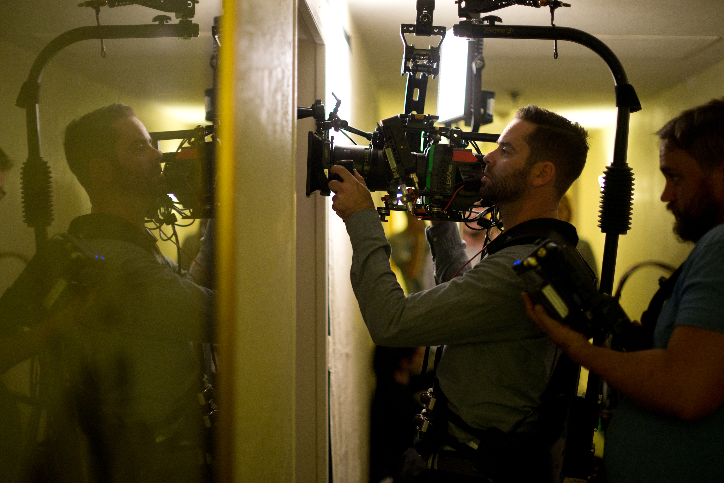 CAPTION:  Cinematographer Eric Koretz on the set of  Frank & Lola .   PHOTO CREDIT:  Andrew James.  (For full-res JPEG,  CLICK HERE .)