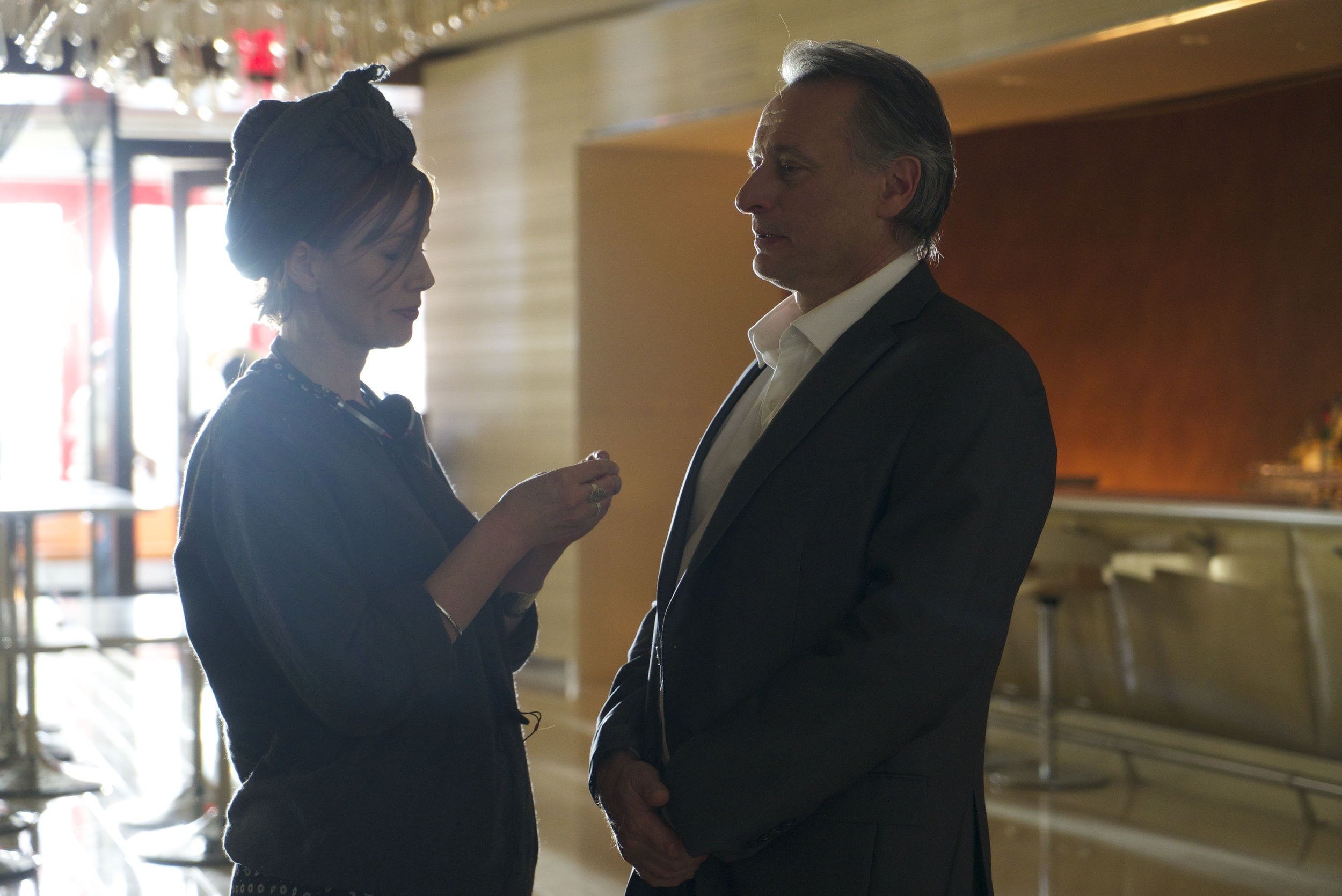 CAPTION:  Frank & Lola costume designer and actor Michael Nyqvist (Alan) on set at the Wynn Las Vegas & Encore Resort.   PHOTO CREDIT:  Charles Cantrell.  (For full-res JPEG,  CLICK HERE .)