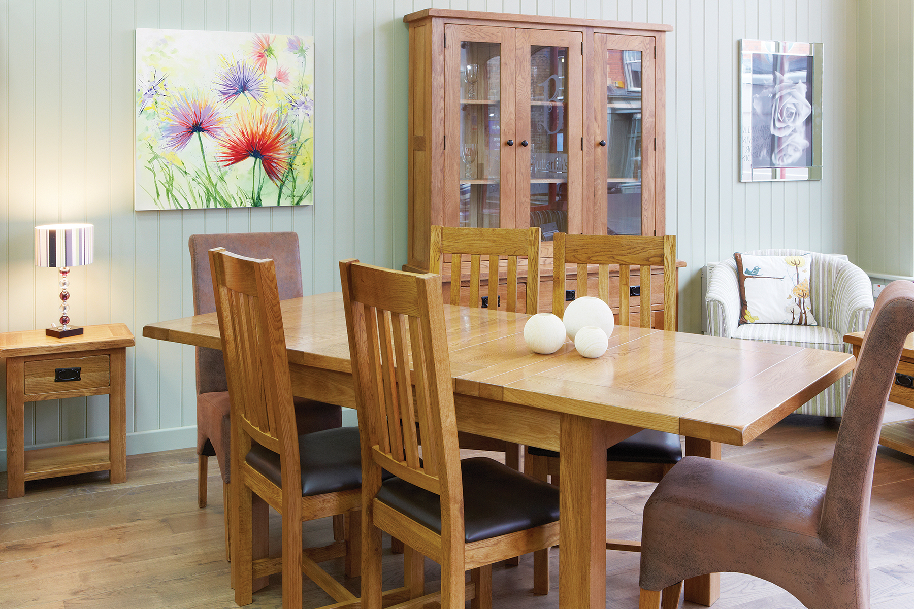 leather and fabric dining chairs