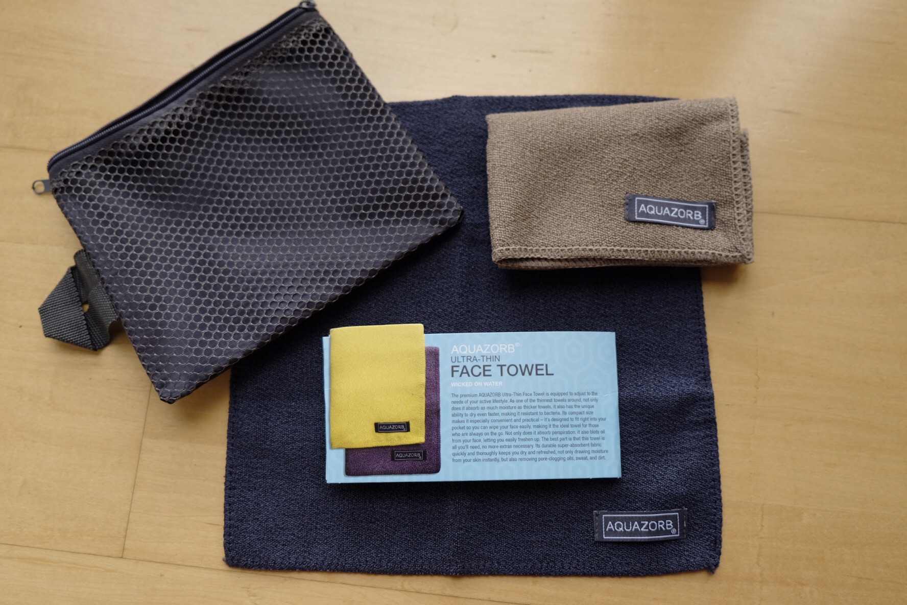 1 Pouch, 2 Ultra Thin Face Towels, 13cmx13cm