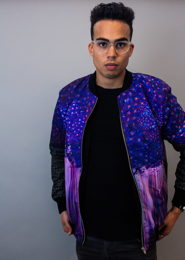 e7be6245a Visual Flux | Art, Prints, Clothing — Bomber jacket for him + her with  Purple Rain print