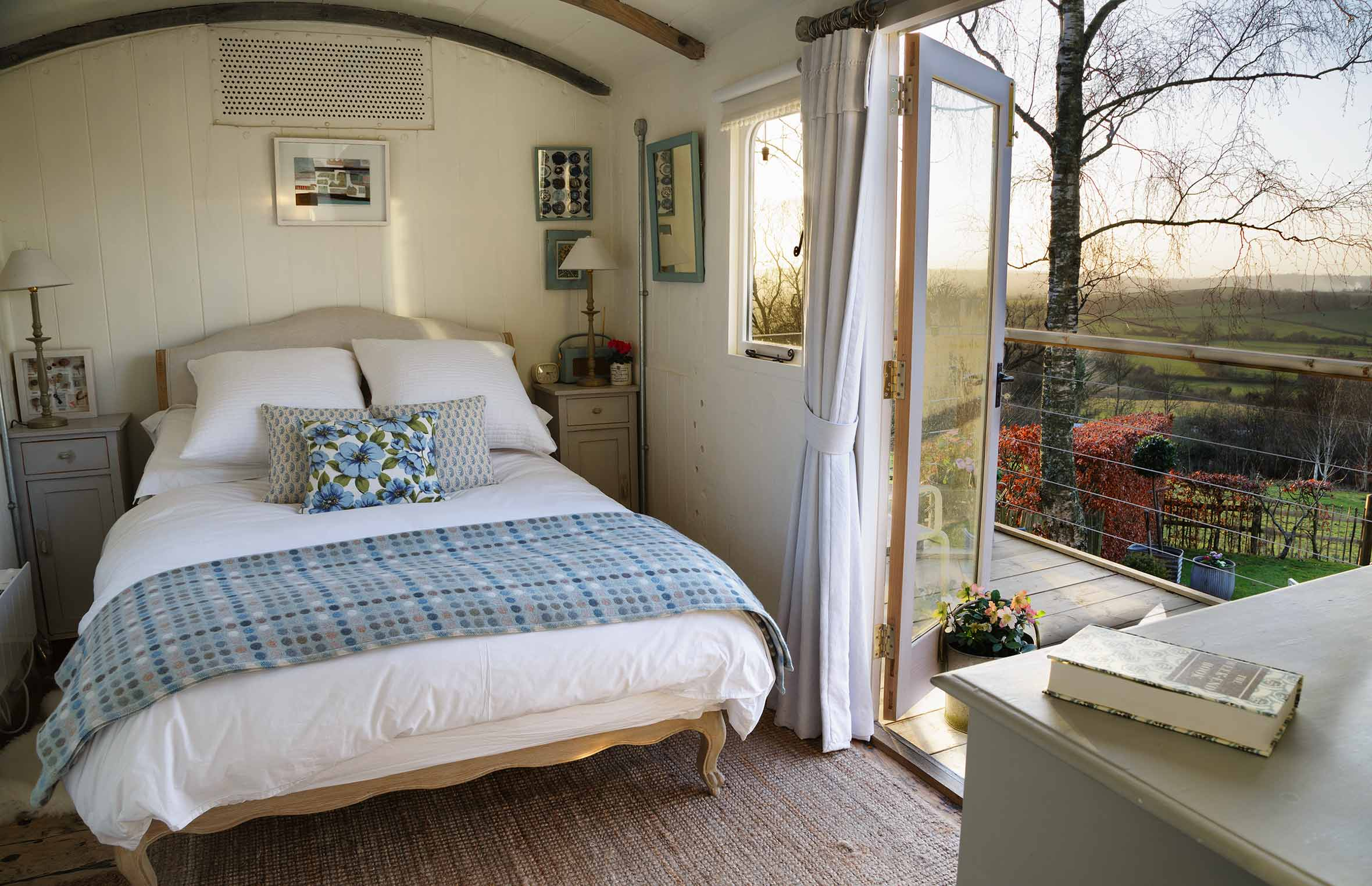 The Wagon's Bedroom overlooking the private garden