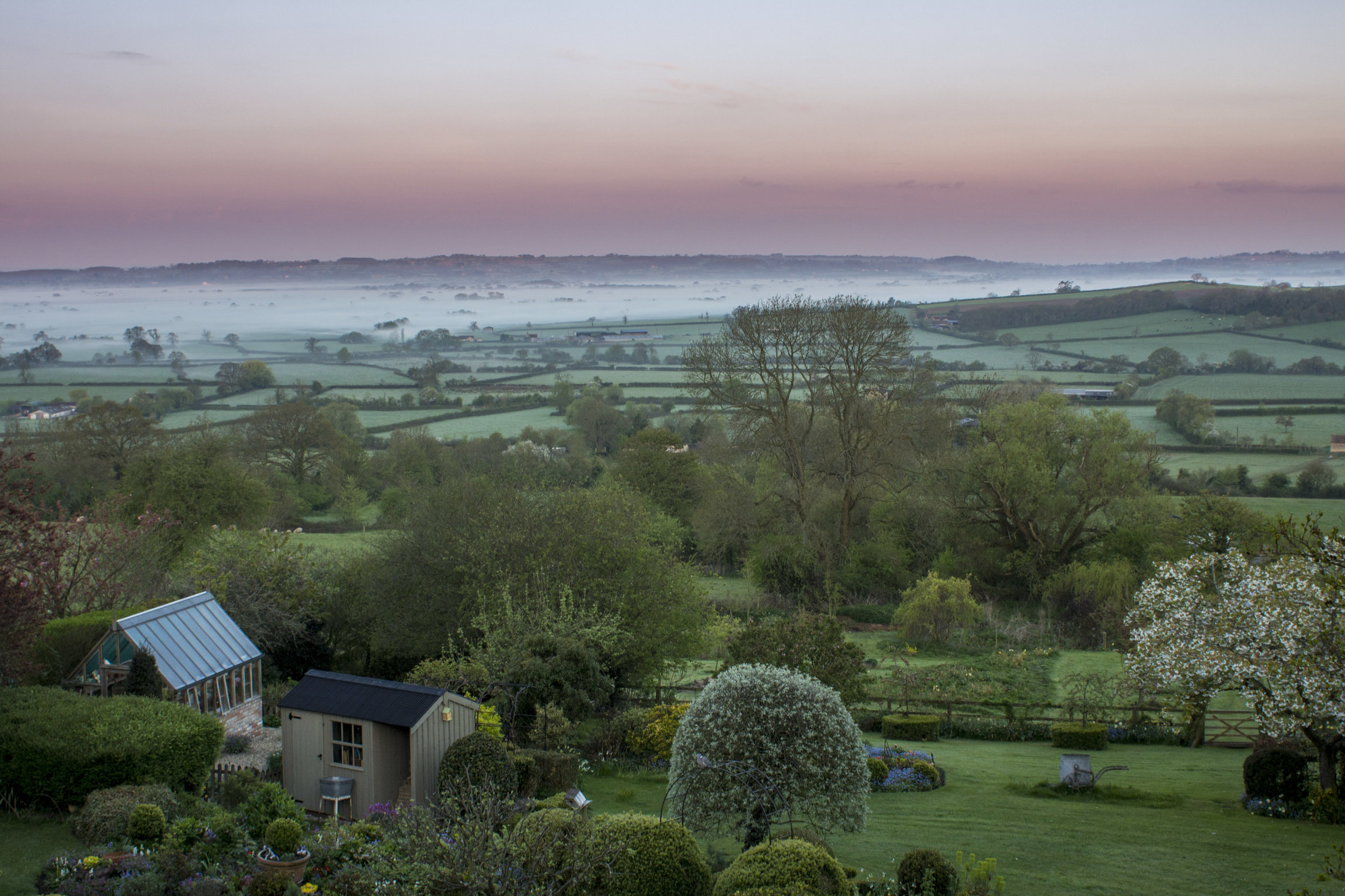 The view across the valley at dawn