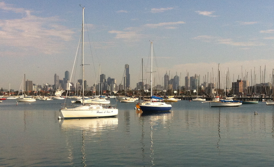 THE VIEW FROM ST KILDA PIER, LOOKING BACK ON MELBOURNE CITY