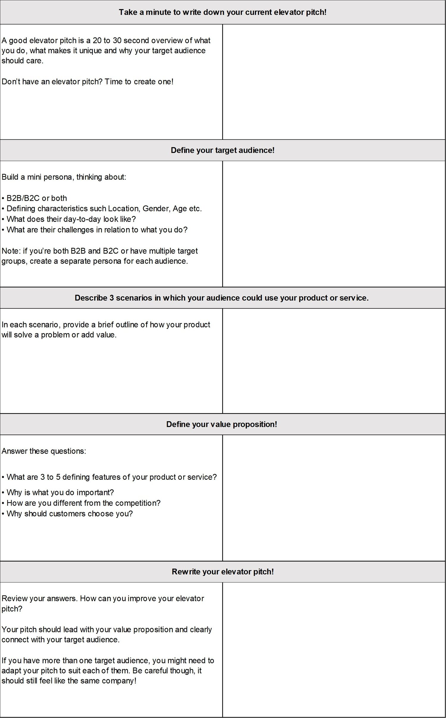The EMMS Elevator Pitch Worksheet