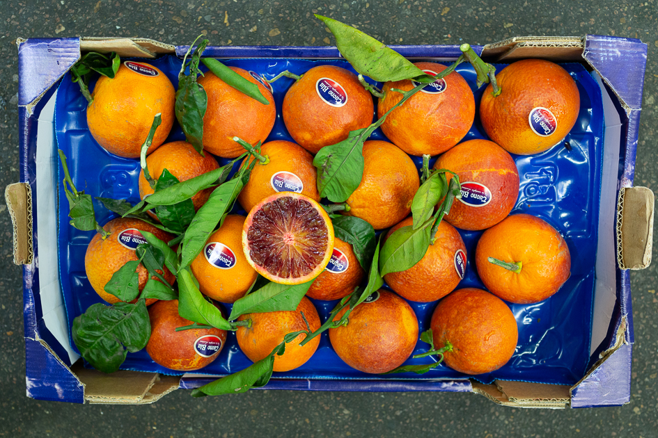 Blood - Tarocco - Tarocco, an early variety of blood orange, is considered by many to have superior flavour to Moro. They are often lighter in colour, although here is a batch of premium dark Tarocco. See our detailed product info page here. Italian season approx. Dec-May.