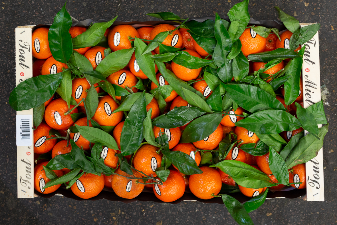 Clementines - These leafy French clementines from the 'Tout Miel' marque are a bestseller. Look for bright green leaves as a sign of freshness. Yosemite are another popular late variety we source from Italy.