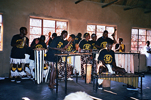 Hwamanda Dance Troupe, Zimbabwe, 2006. This is a typical set up with one soprano, one tenor and one baritone marimba.