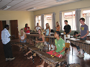 Zimba Marimba Band with Tipei Marazanye at the College of Music in Harare, Zimbabwe, 2006. Larger bands typically use three or four sopranos, three or four tenors with up to two people on each, one or two baritones, and one bass marimba.