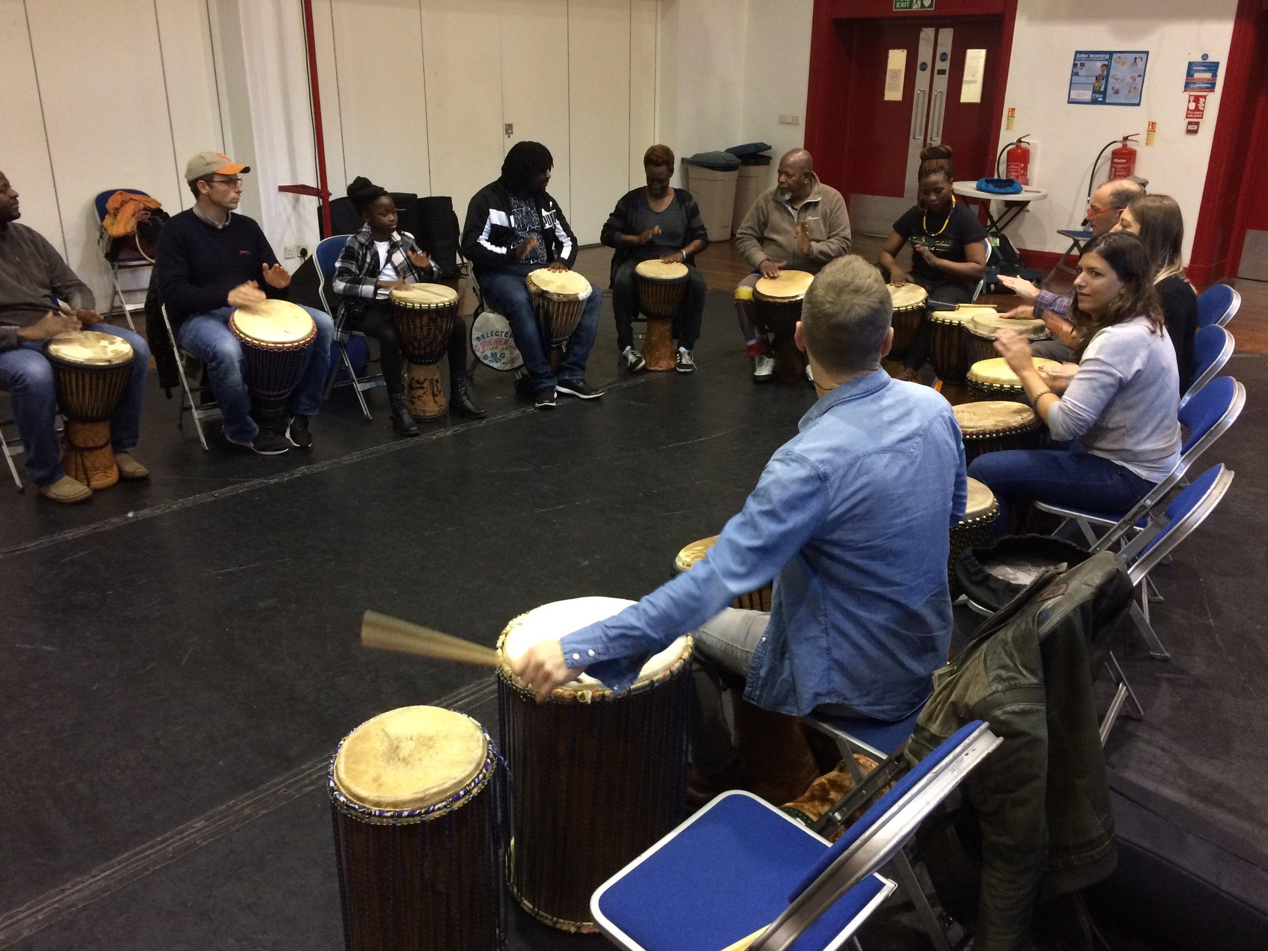 Drumming workshop with Joe Legwabe