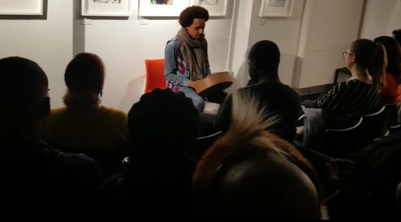 Otto Gumaelius Playing The Mbira At Exiled Writers Ink in Covent Garden London