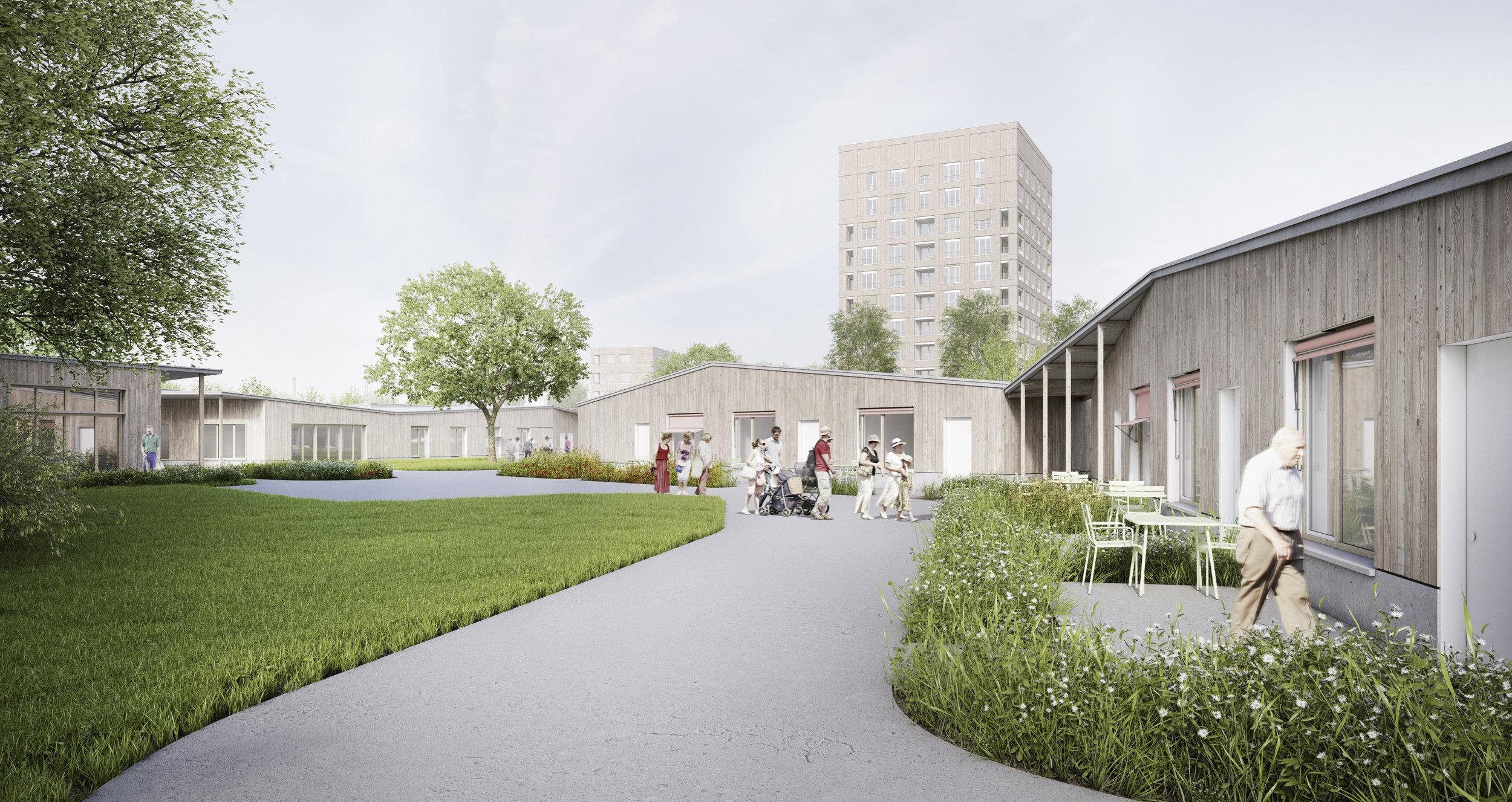 Links situeren zich tuinwoningen en rechts de woningen van MPI Oosterlo.