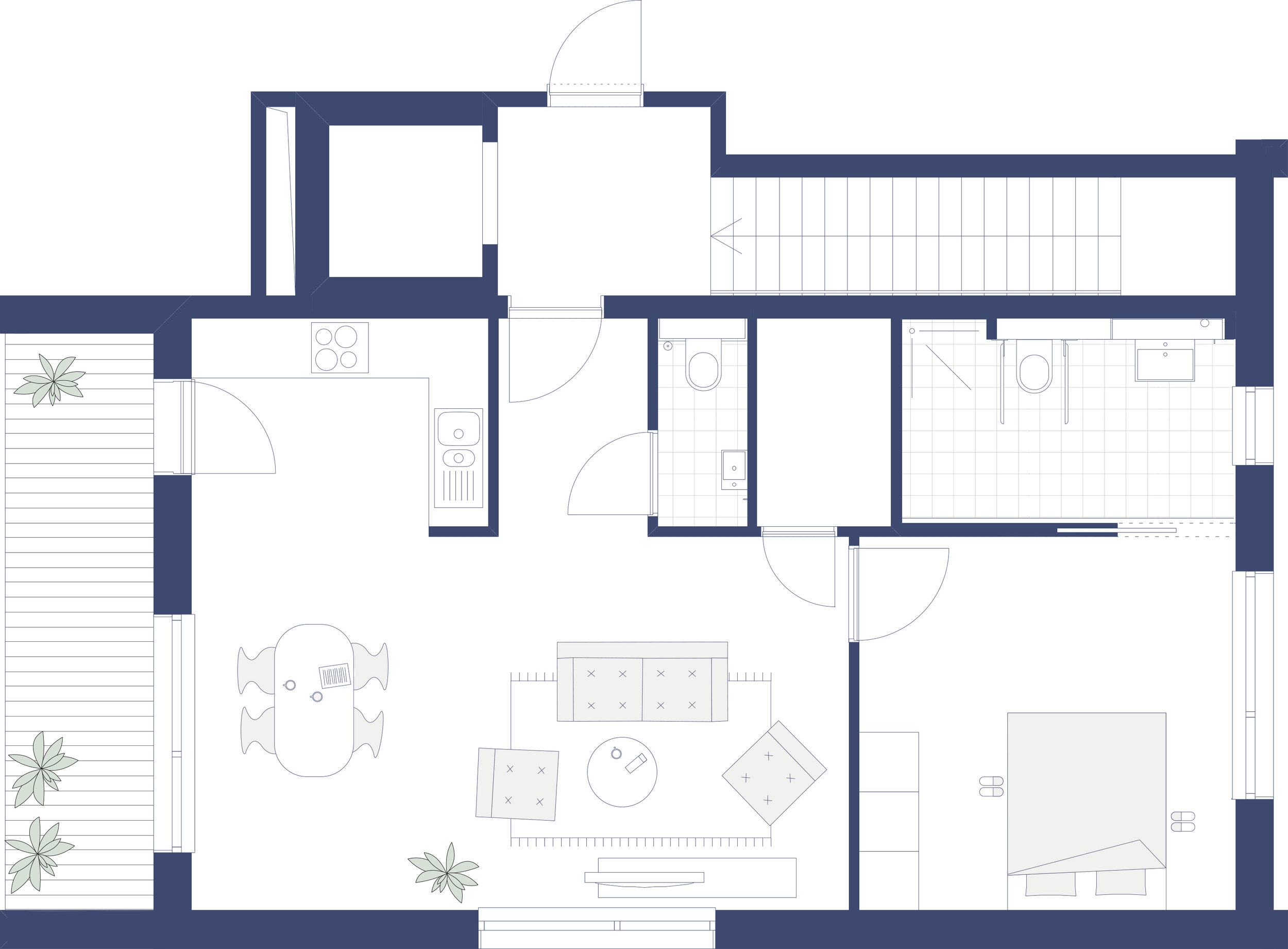 woning op de eerste verdieping aan de straatzijde - toegang via lift of trap