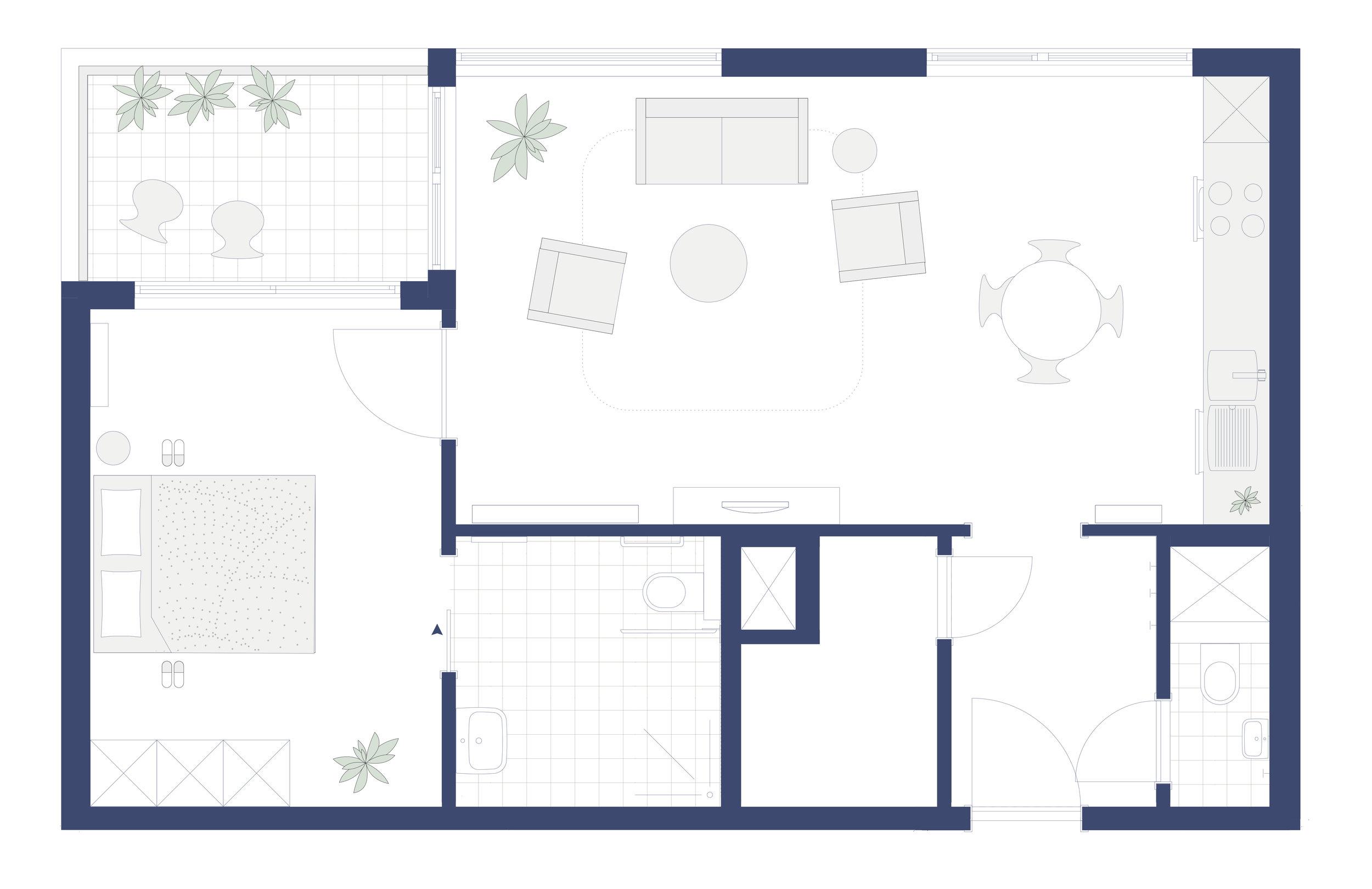 éénslaapkamerflat 67 m2 - type B