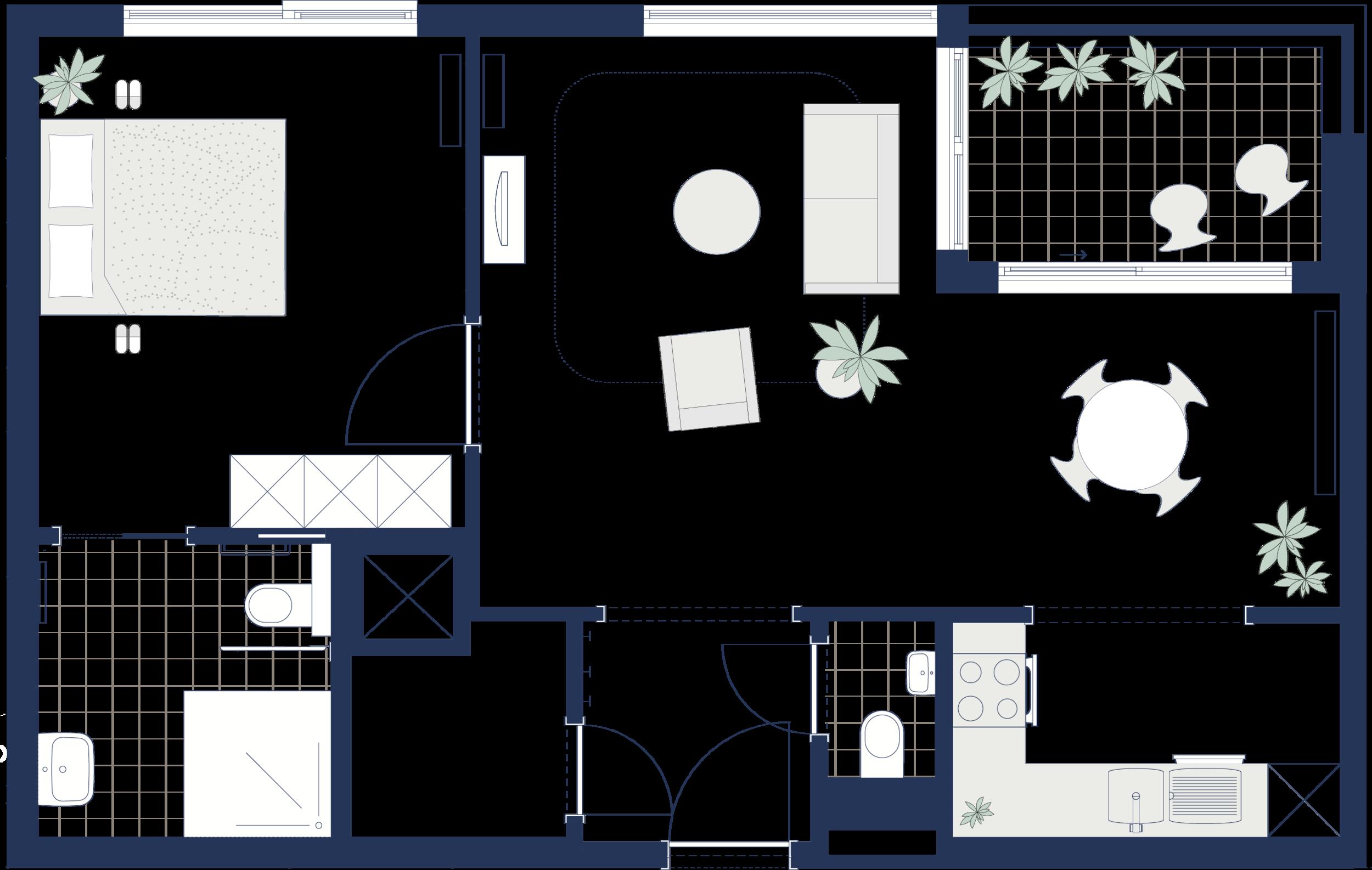 éénslaapkamerflat 67 m2 - type A