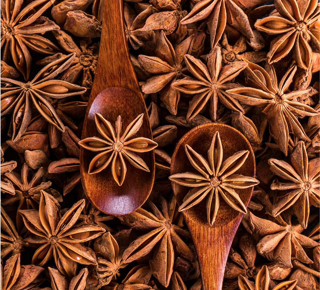 Anise star  Other than enhancing the flavor of many dishes, not only this soup, but especially Mediterranean and Asian dishes, it acts as an expectorant to help you get rid of all the gunk  🤮  that builds up in your chest when you're sick.)