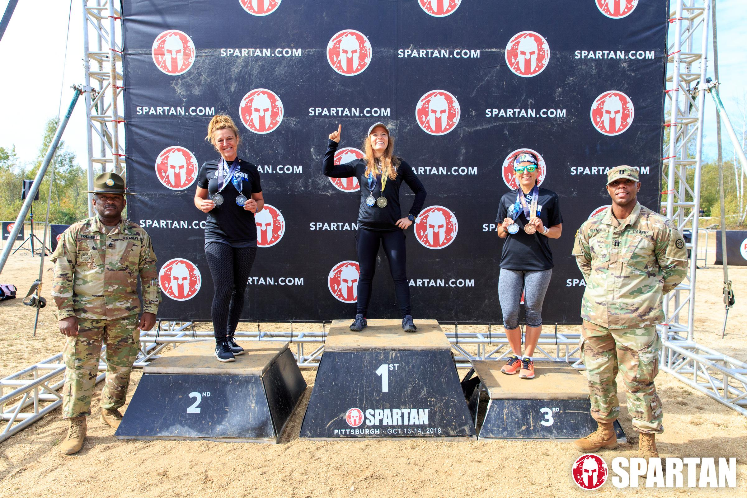 Dawn taking podium at the Pittsburgh Spartan Race