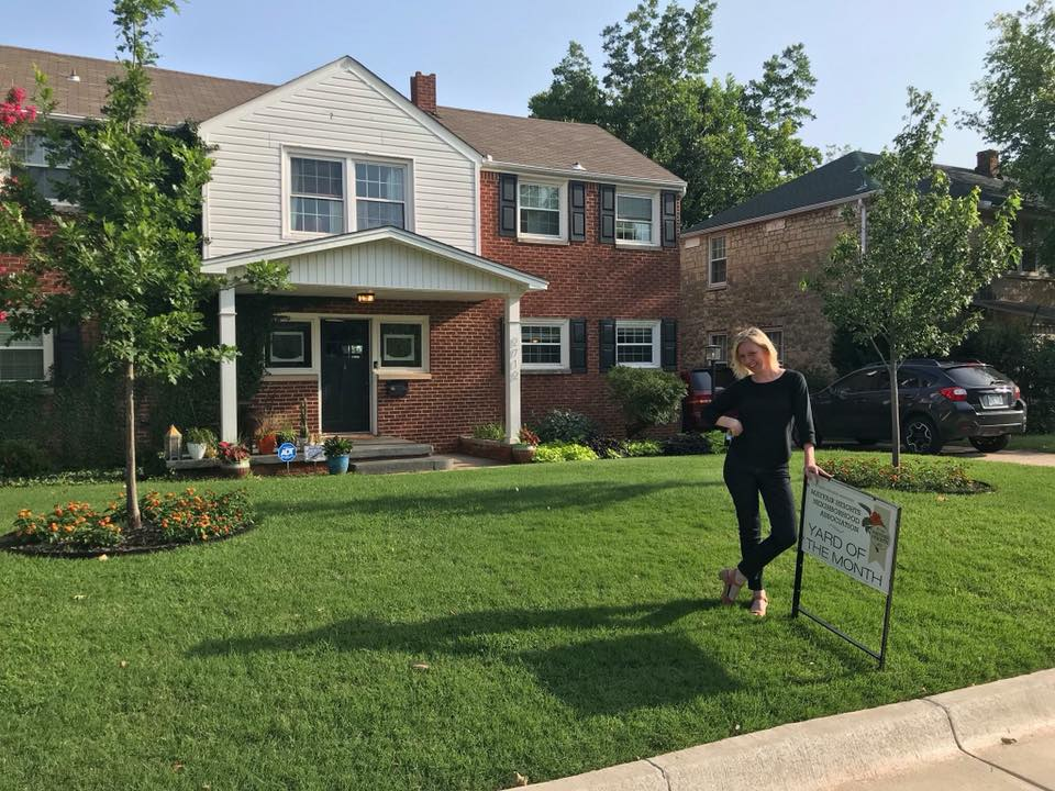 June 2018 Yard of the Month  - 2712 NW 45th St was the winner this month and homeowner Erin Cooper couldn't have been happier! They have nice butterfly bushes growing around their trees and a nice array of ground foliage! The yard is bright and cheerful! ·