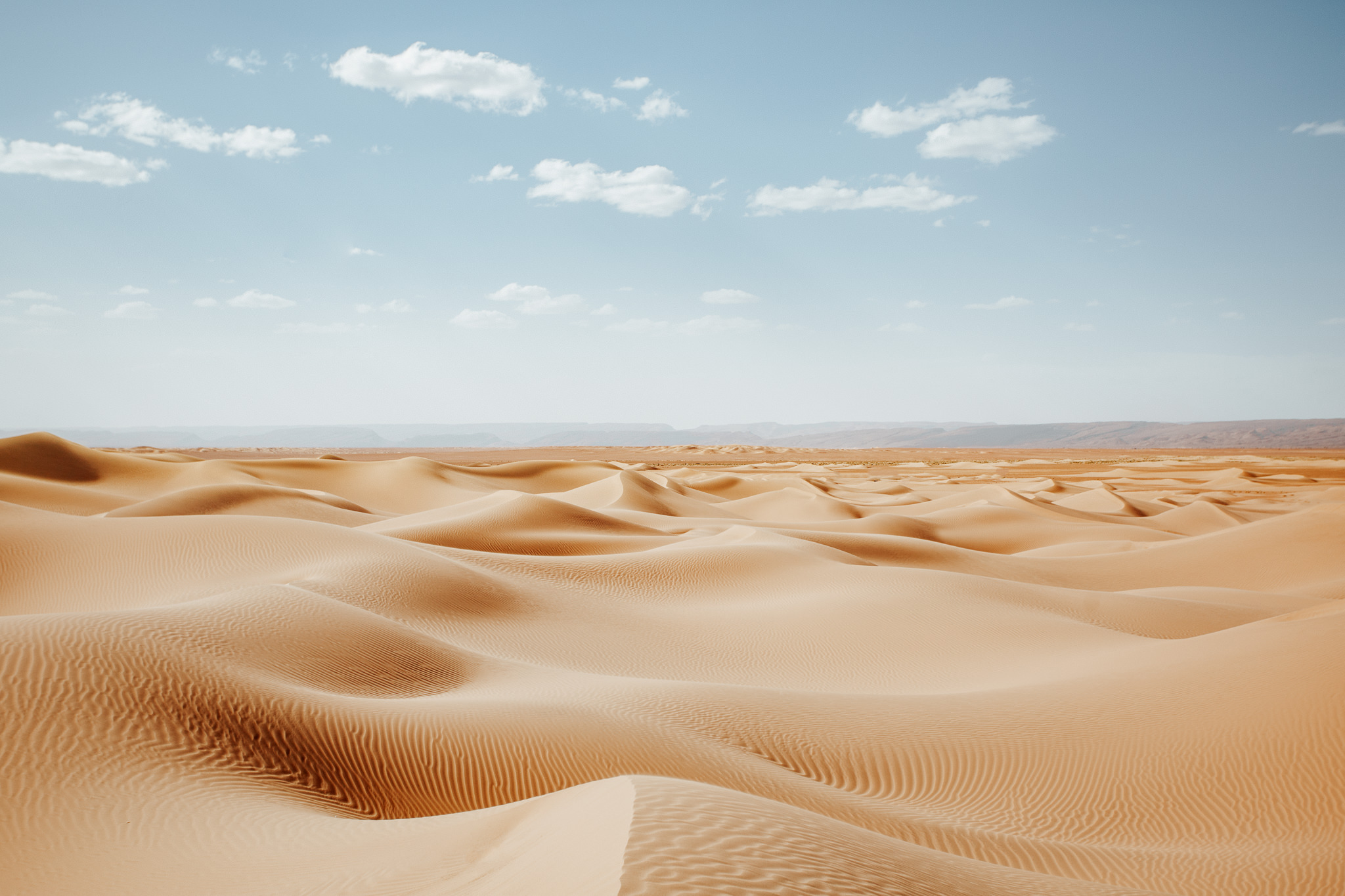 Sand dunes during summer in Sahara desert in Morocco