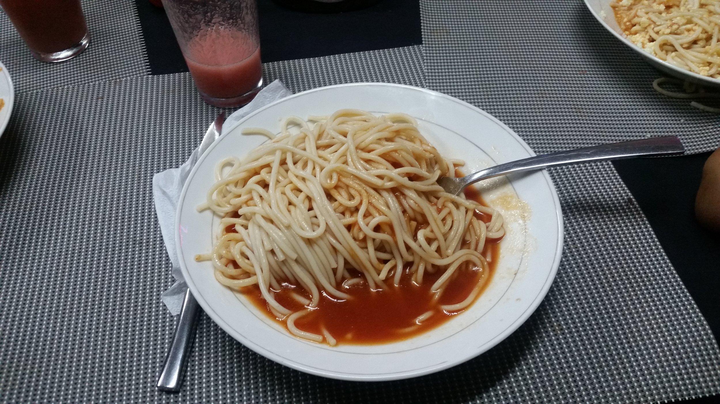 Typical spaghetti (no mustard)