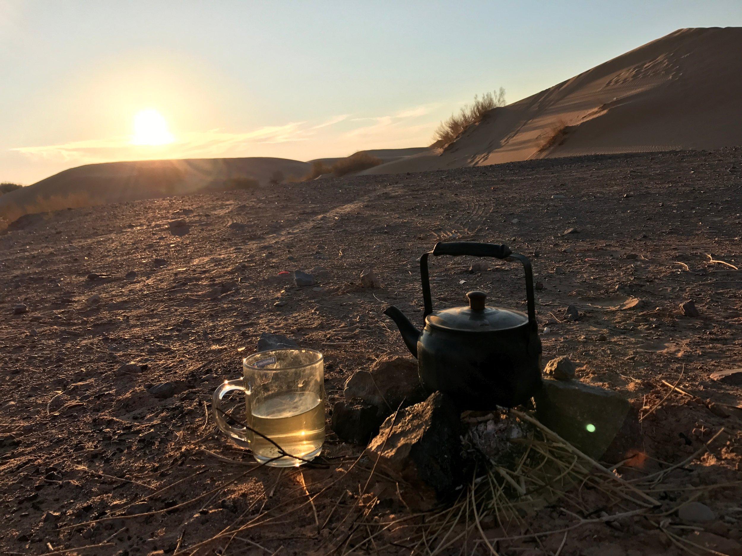 Desert tea at sunset