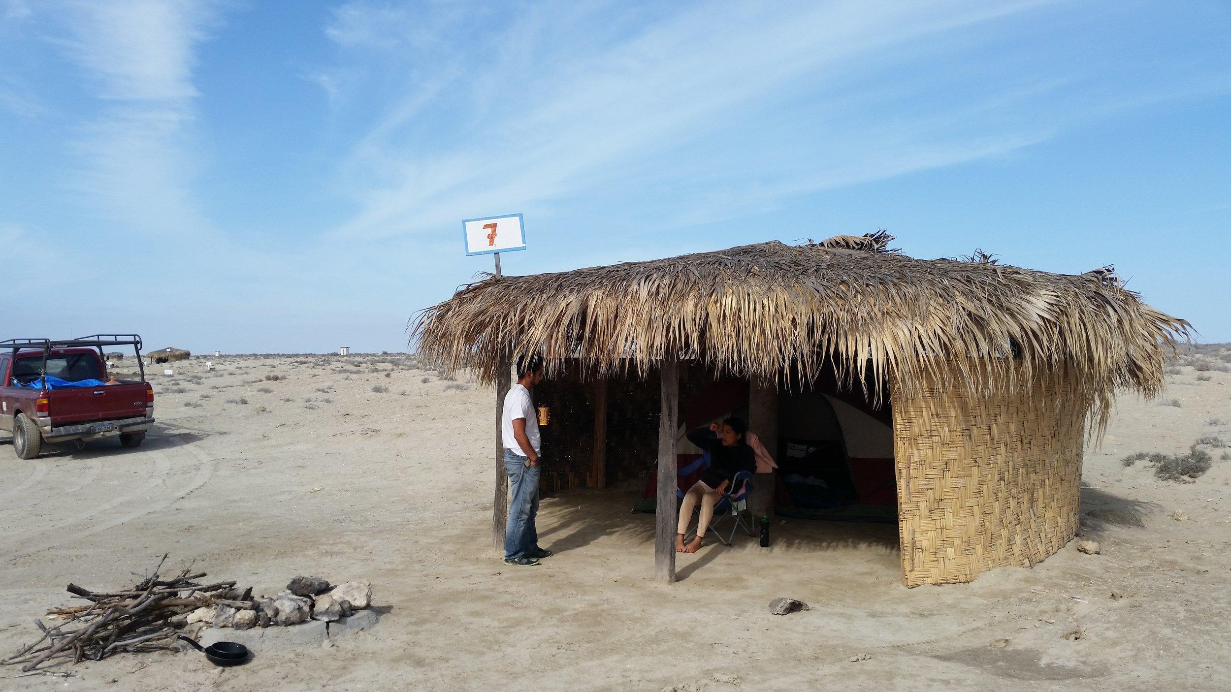 Our campsite in the salt flats of Guerrero Negro