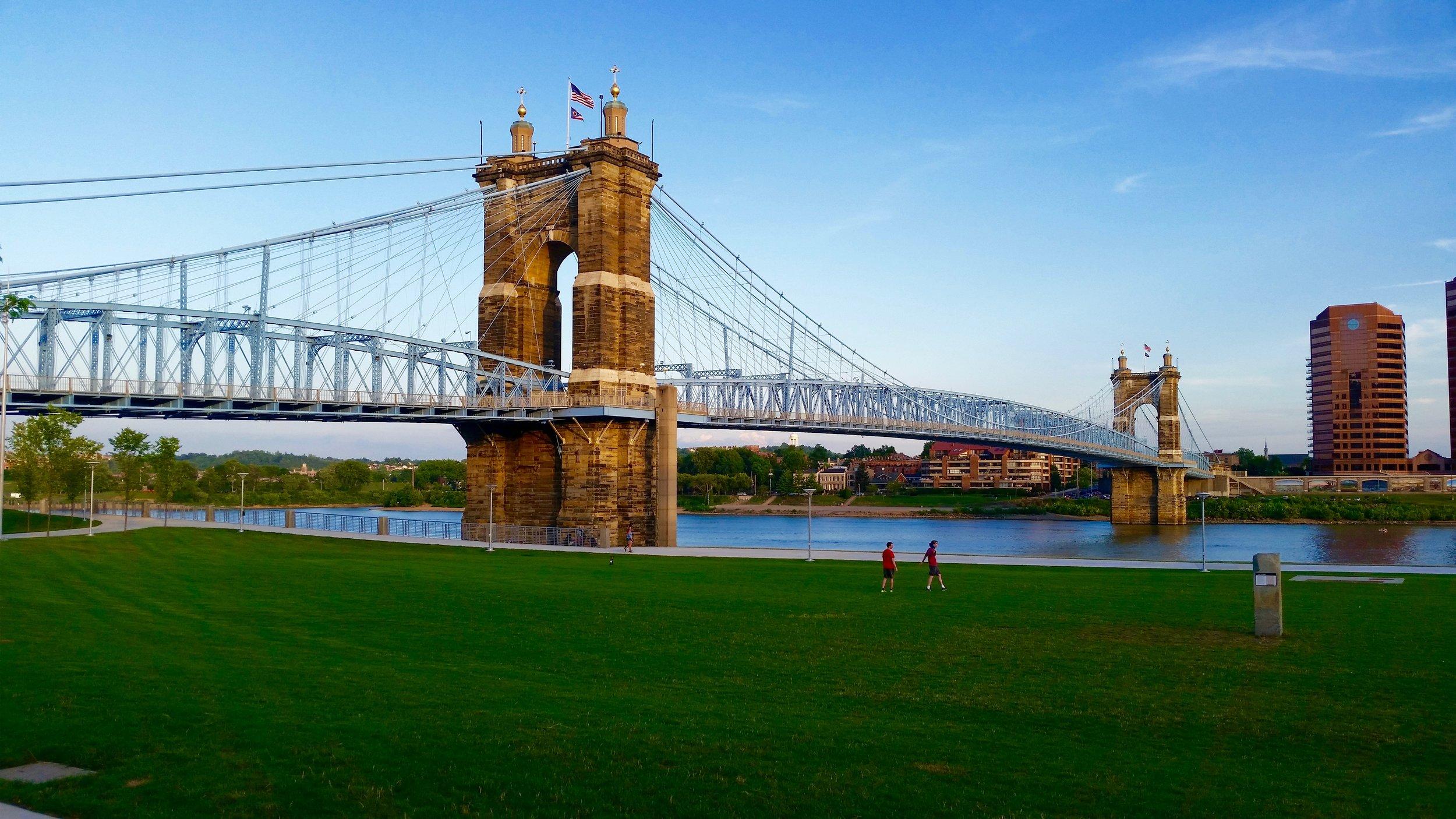 The Roebling Suspension Bridge, connecting Cincinnati to Covington, Kentucky