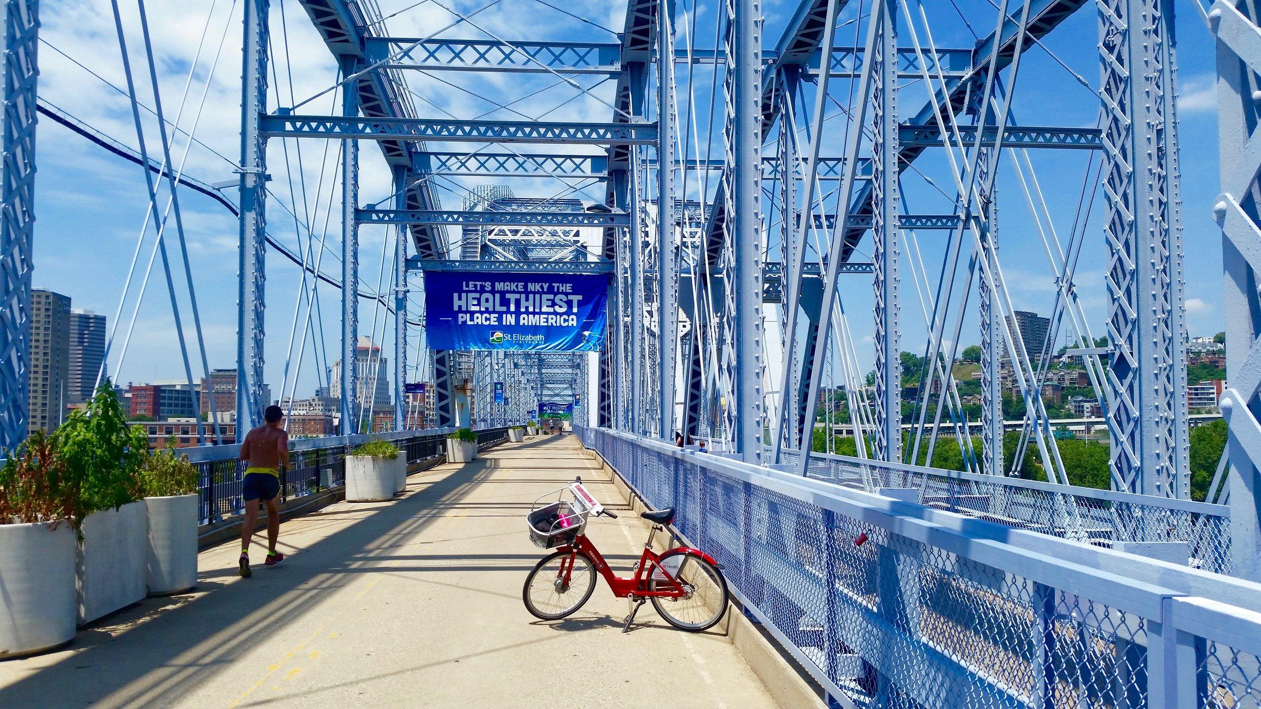 "The car-free ""Purple People Bridge"" connecting Cincinnati to Covington, Kentucky"