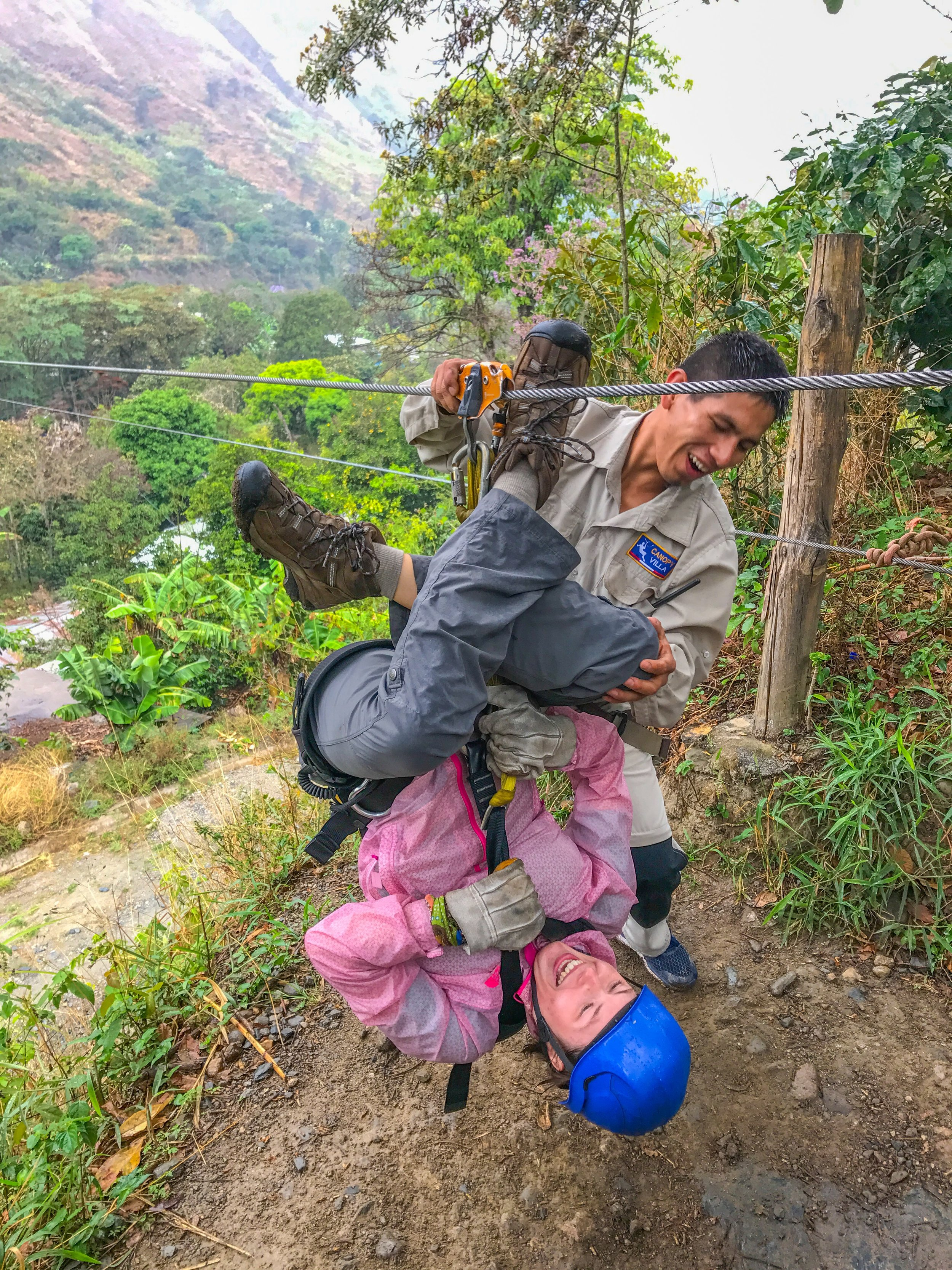Zip lining through the Andes mountains