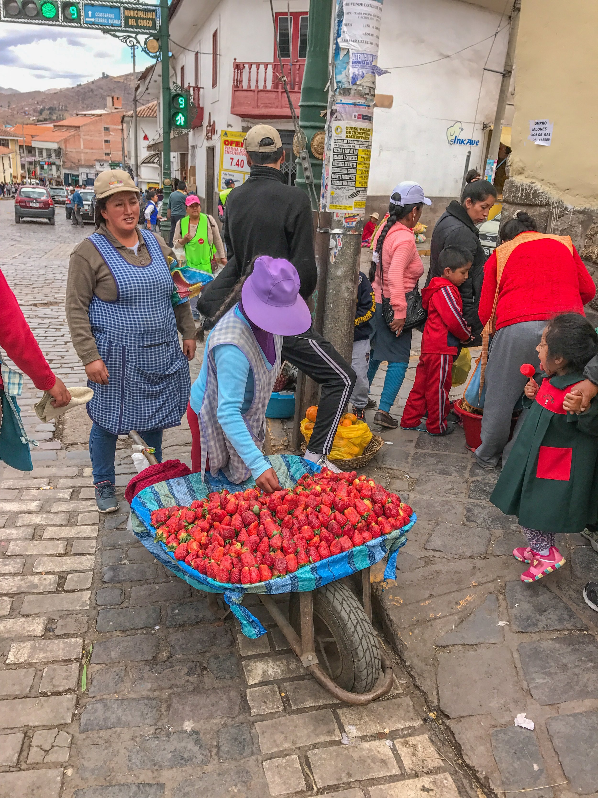 Berries sold outside San Pedro Market