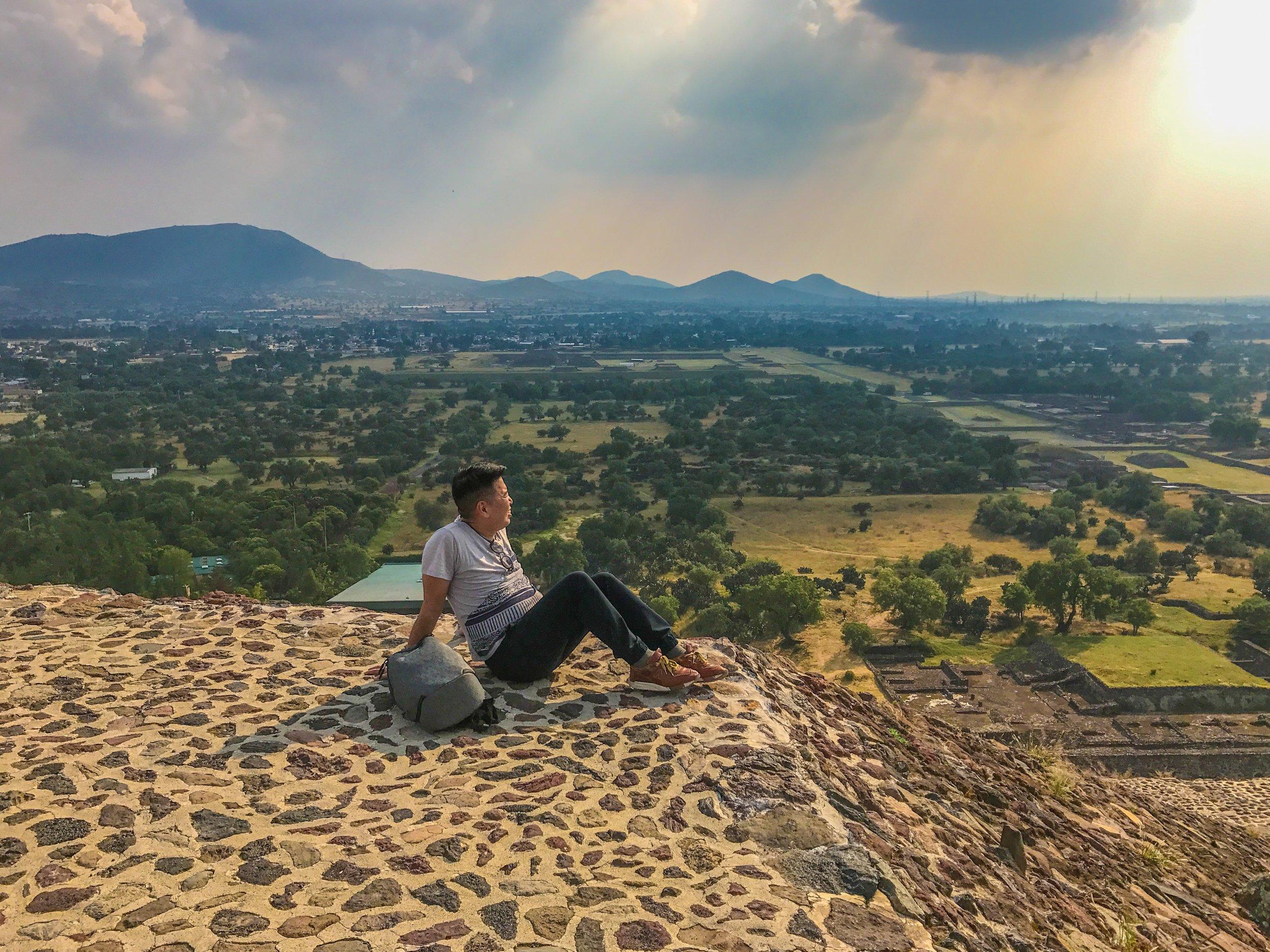 Top of the Sun Pyramid in Teotihuacan