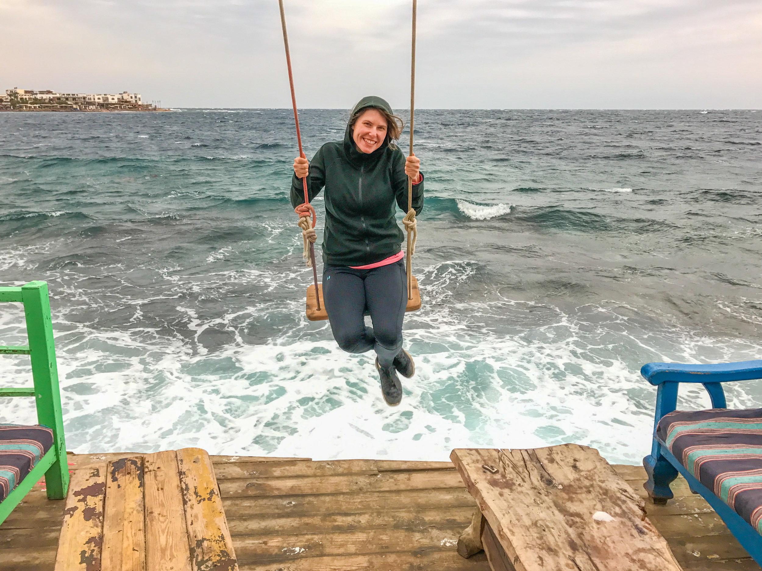 Post-diving swing in Dahab, Sinai