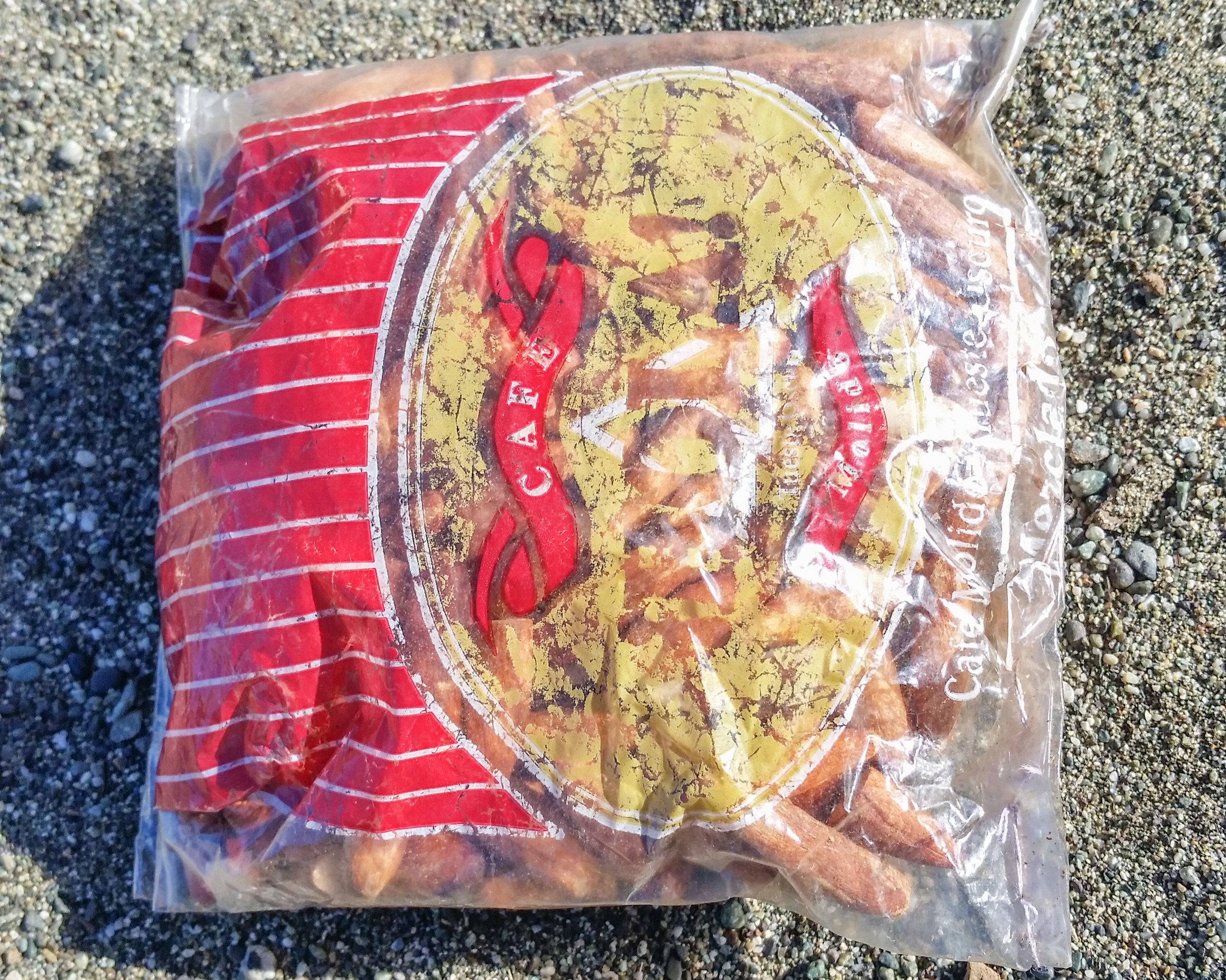 Almonds stuffed into an old coffee bag, sewed shut and sold in Guantanamo