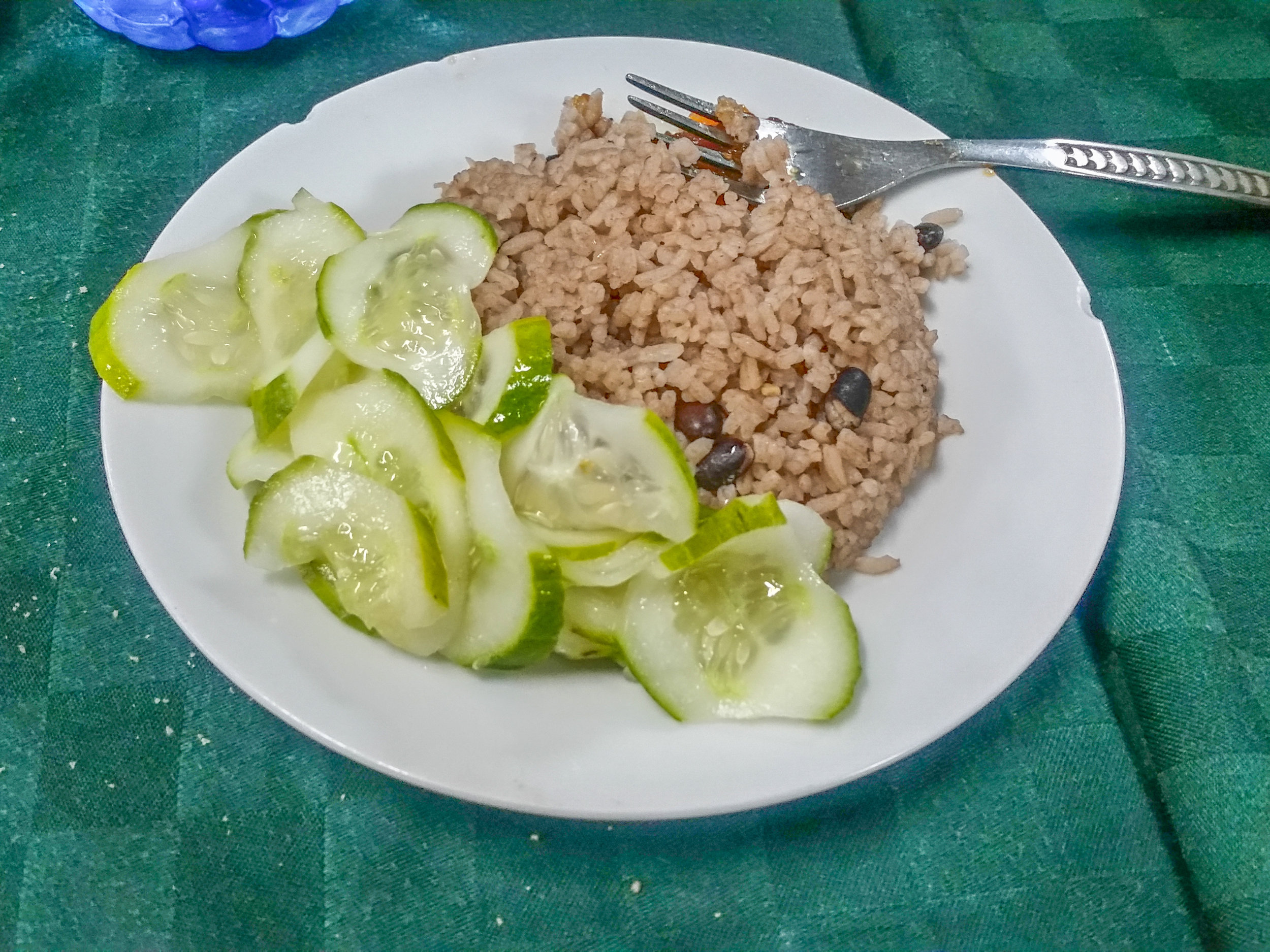 """Typical vegan option: Cuban """"congri"""" (rice & beans cooked together) and cucumbers with soybean oil."""