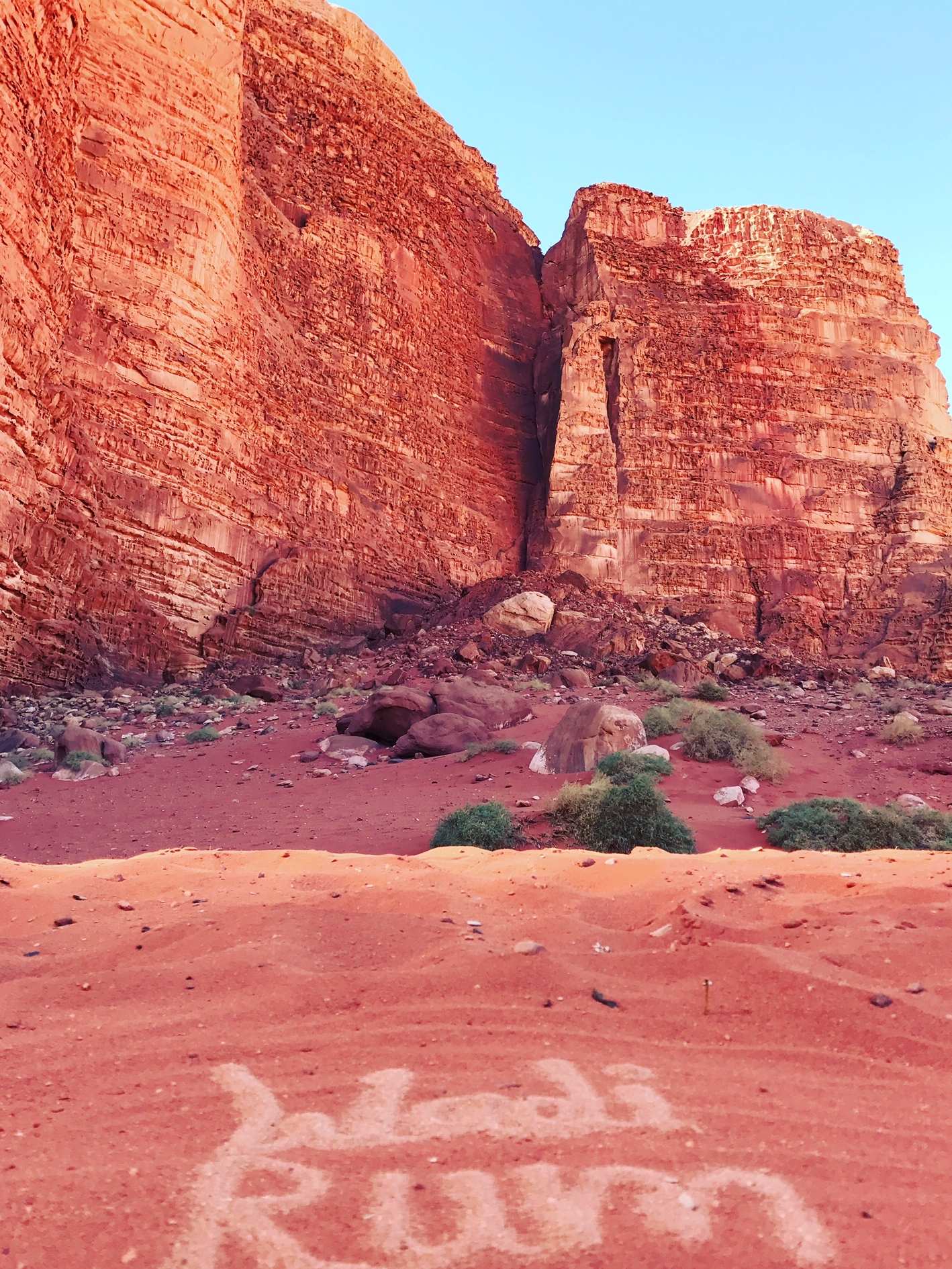 Many of the rocks in Wadi Rum look like melting chocolate