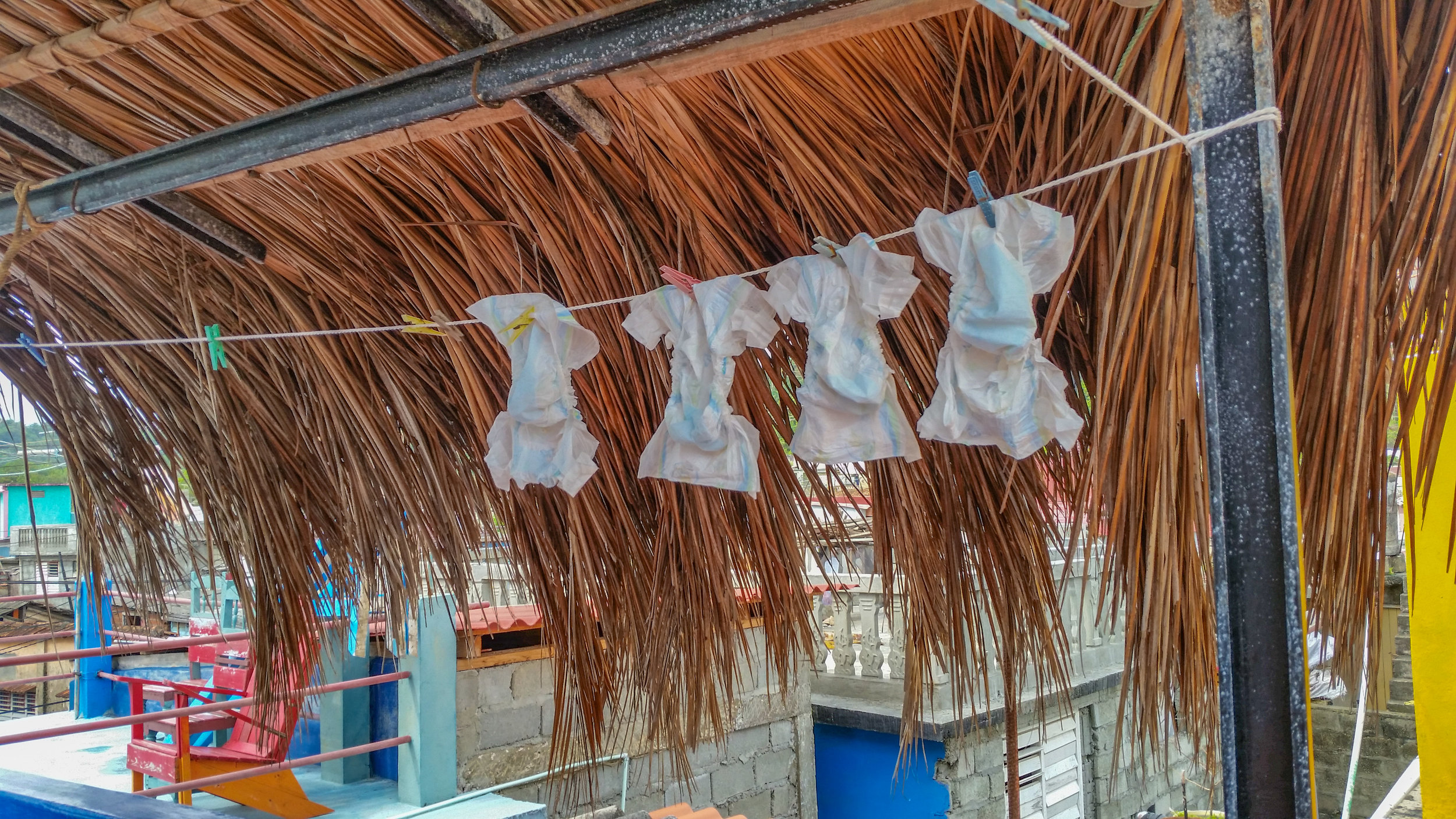 Diapers out to dry and re-use in Baracoa, Guantanamo