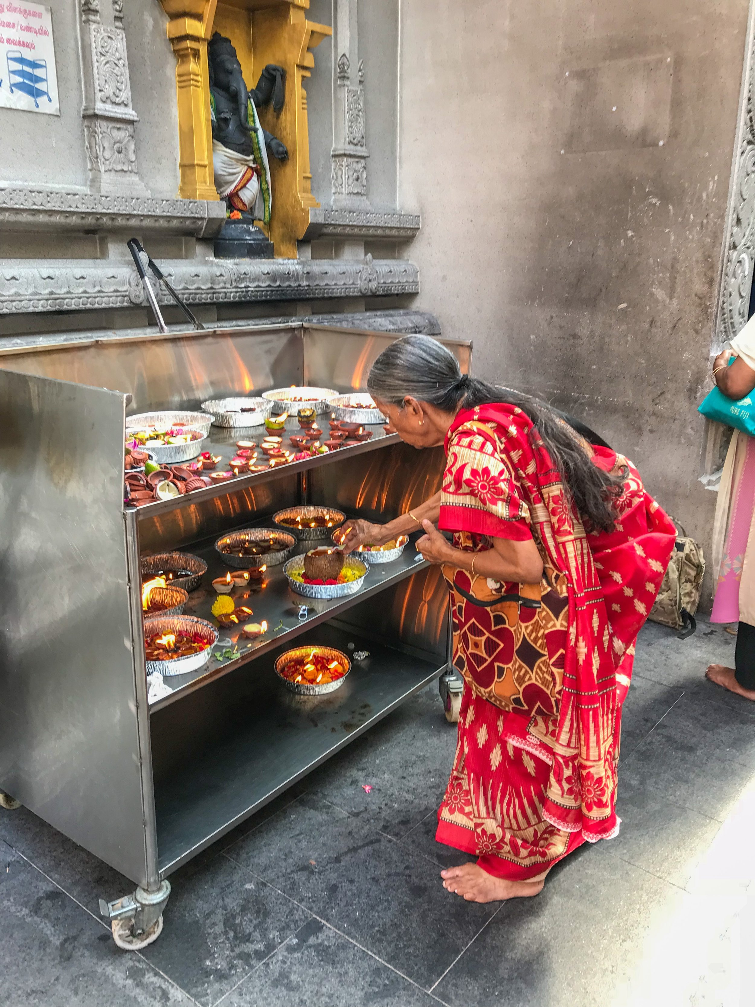 Offerings in a Hindu temple in Singapore's Little India