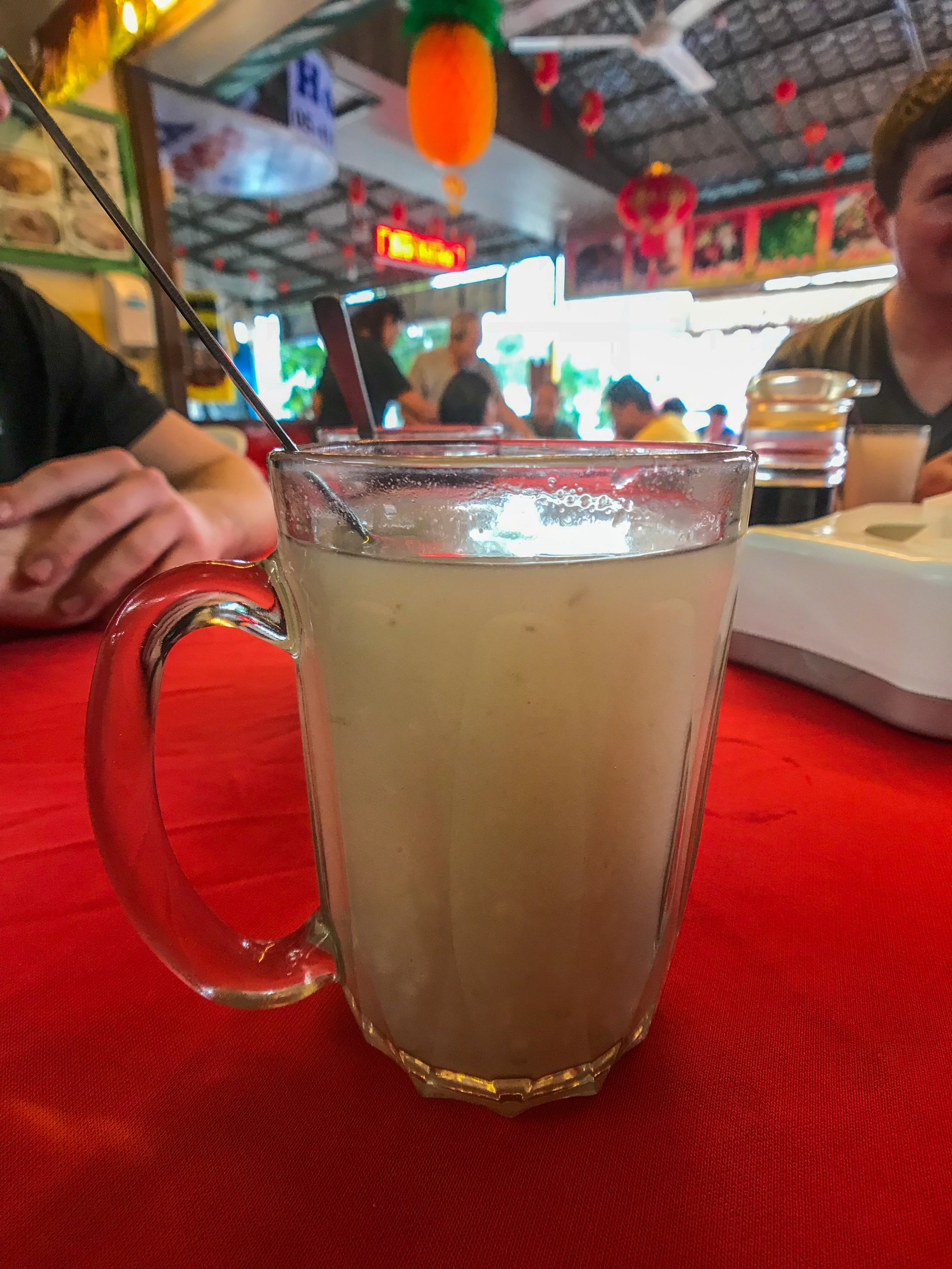 Hot barley juice served in the Cameron Highlands