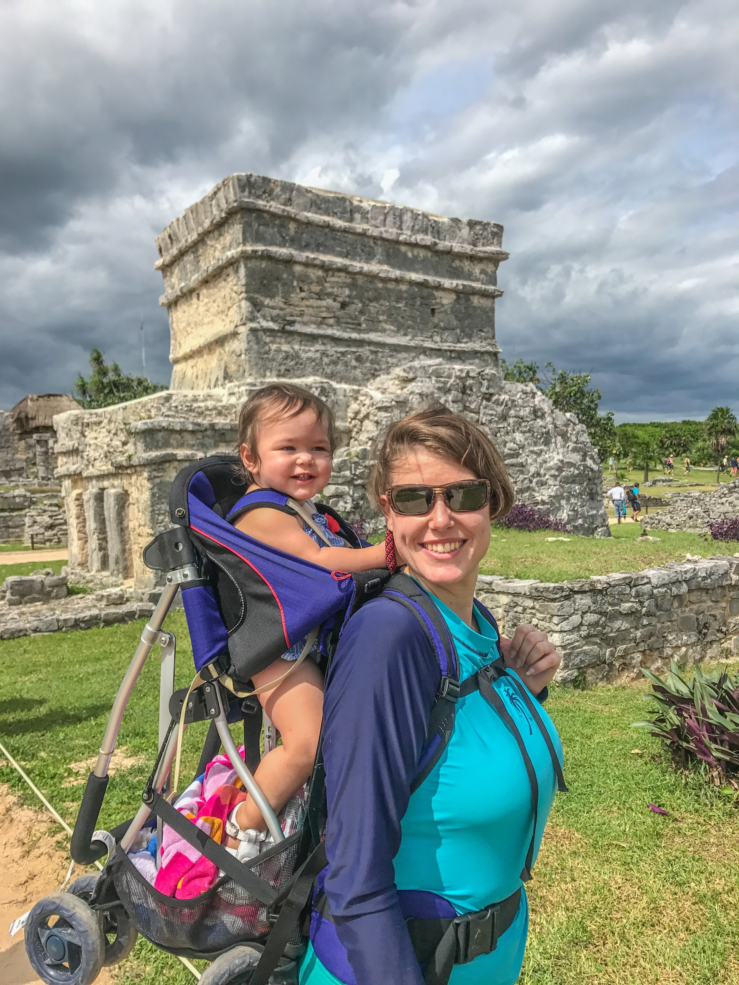 My niece is happy we have travel insurance while hiking through Tulum, Mexico
