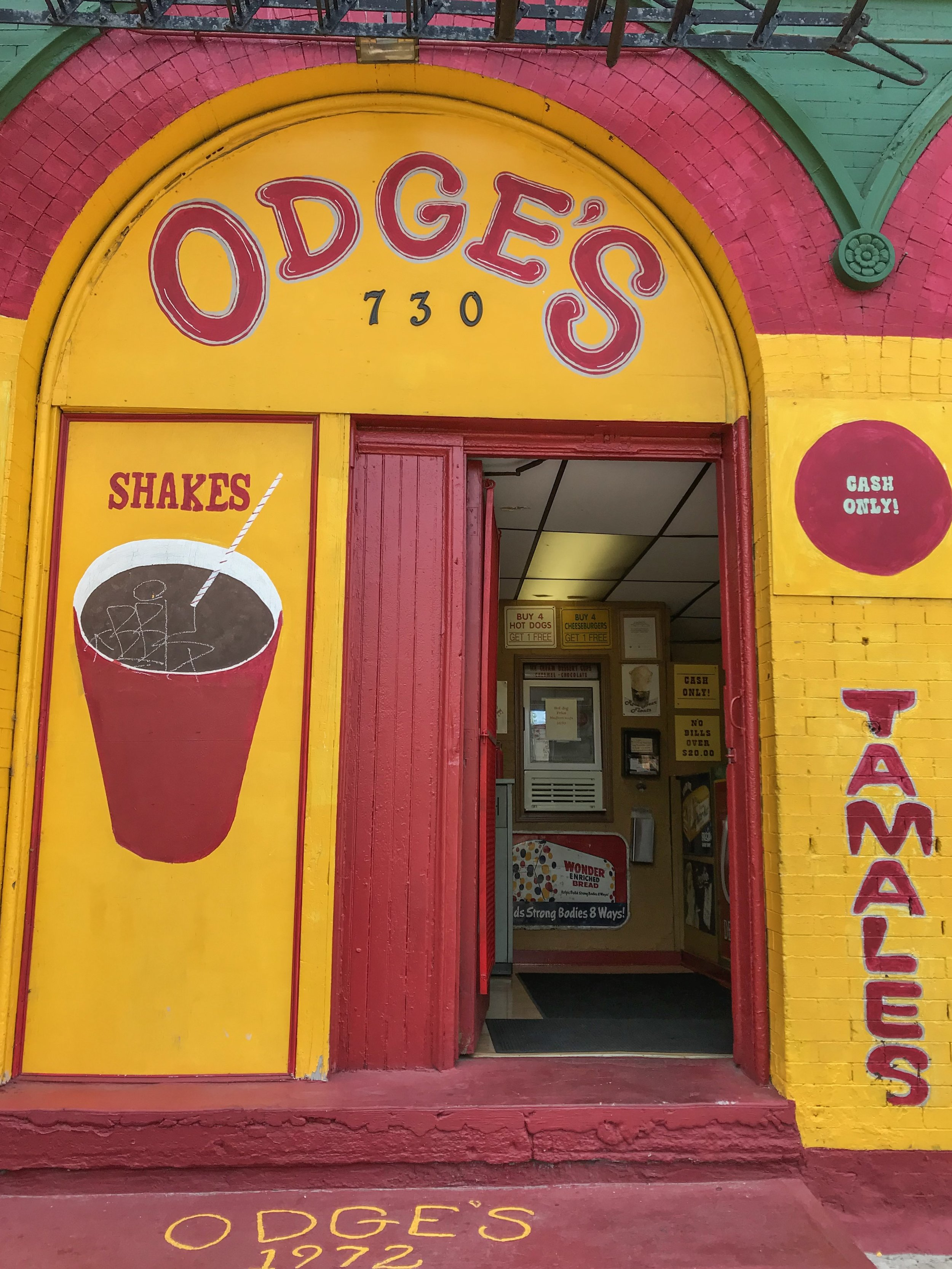 The Exterior of Odge's Restaurant is Full of Food