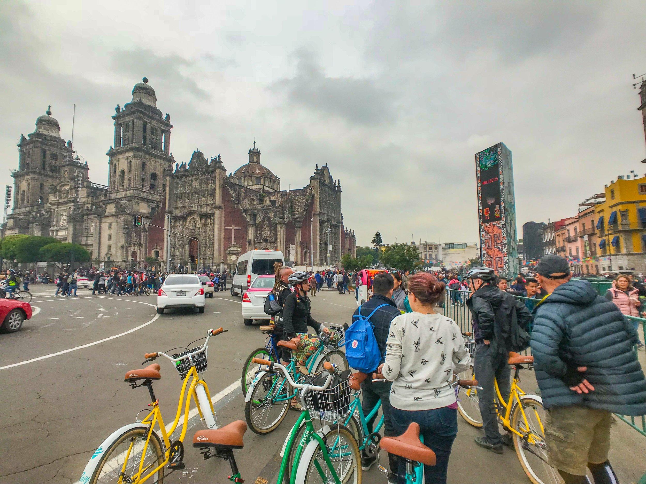 Biking to Mexico City's famous Zocalo